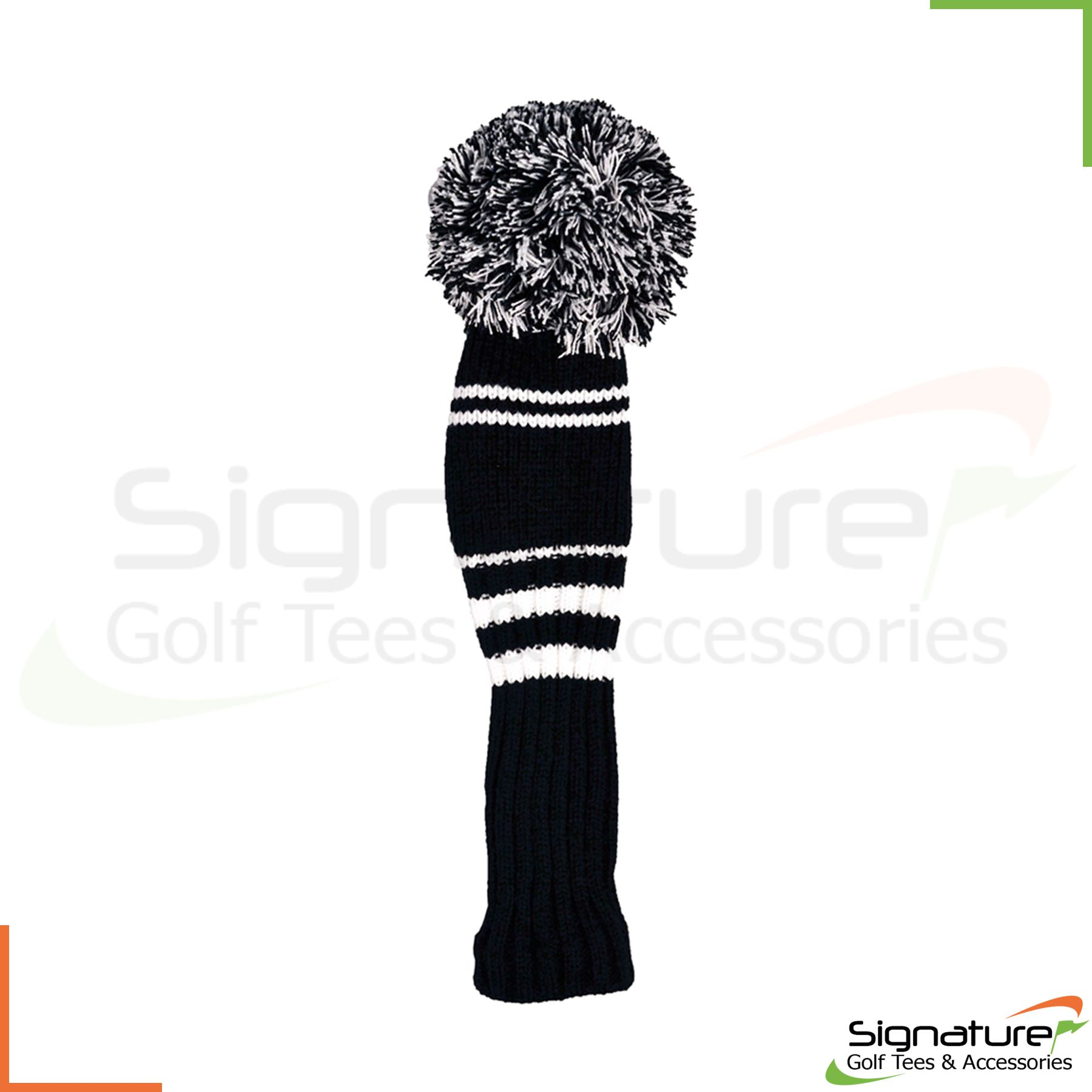Premium-Knitted-Pom-Pom-Golf-Club-Headcovers-Black-White