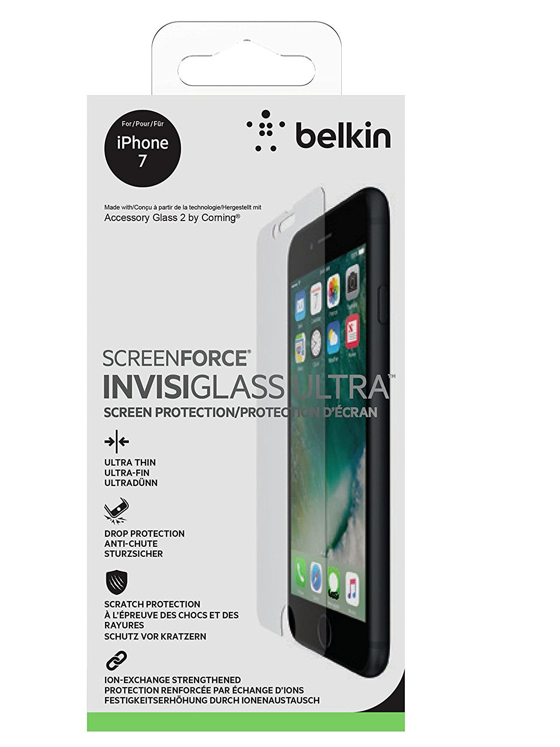 belkin screenforce invisiglass ultra glass screen protector for iphone 7 f8w812 ebay. Black Bedroom Furniture Sets. Home Design Ideas