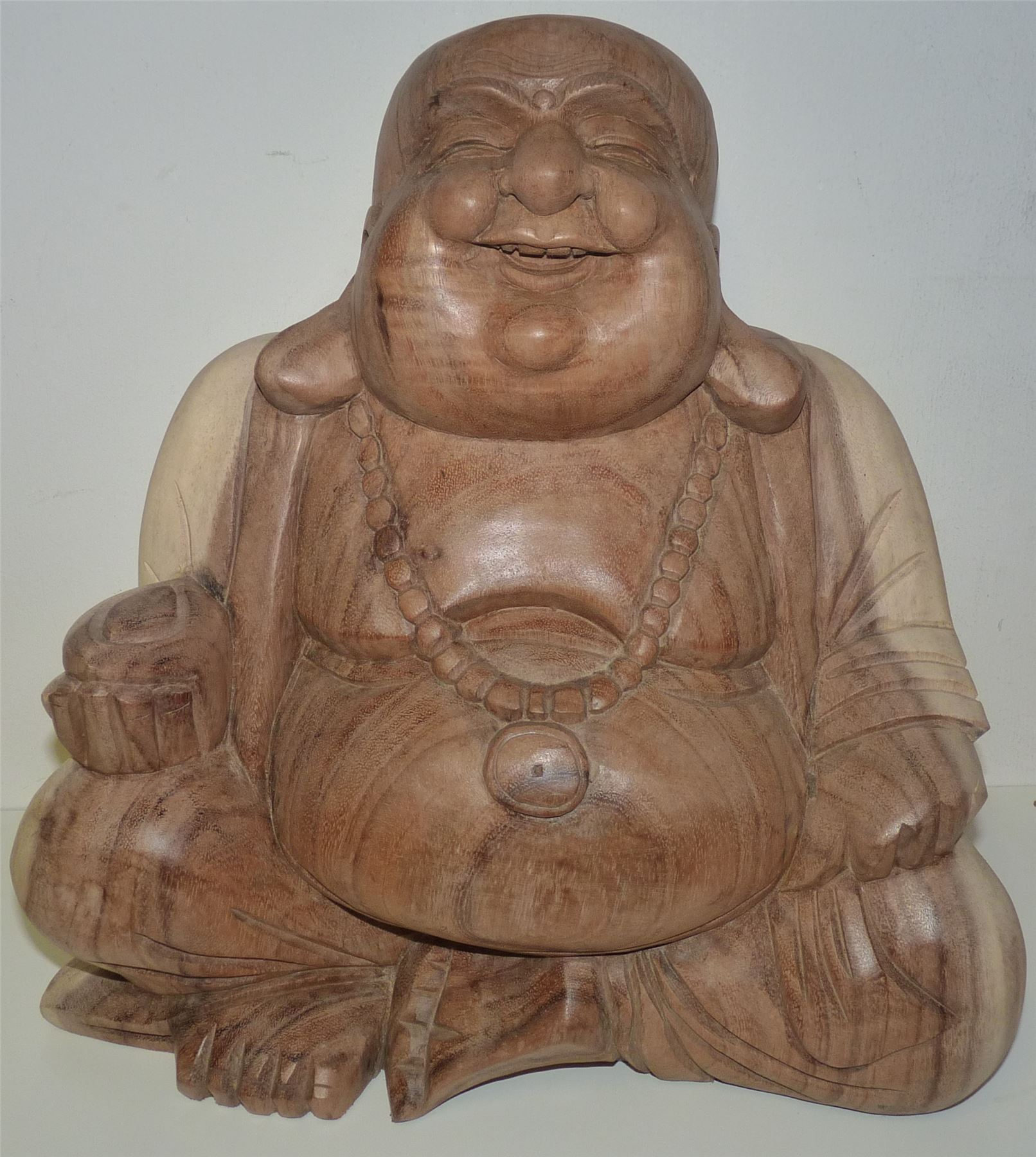 Laughing happy buddha 50cm natural wooden buddhist for Does buddha bring good luck