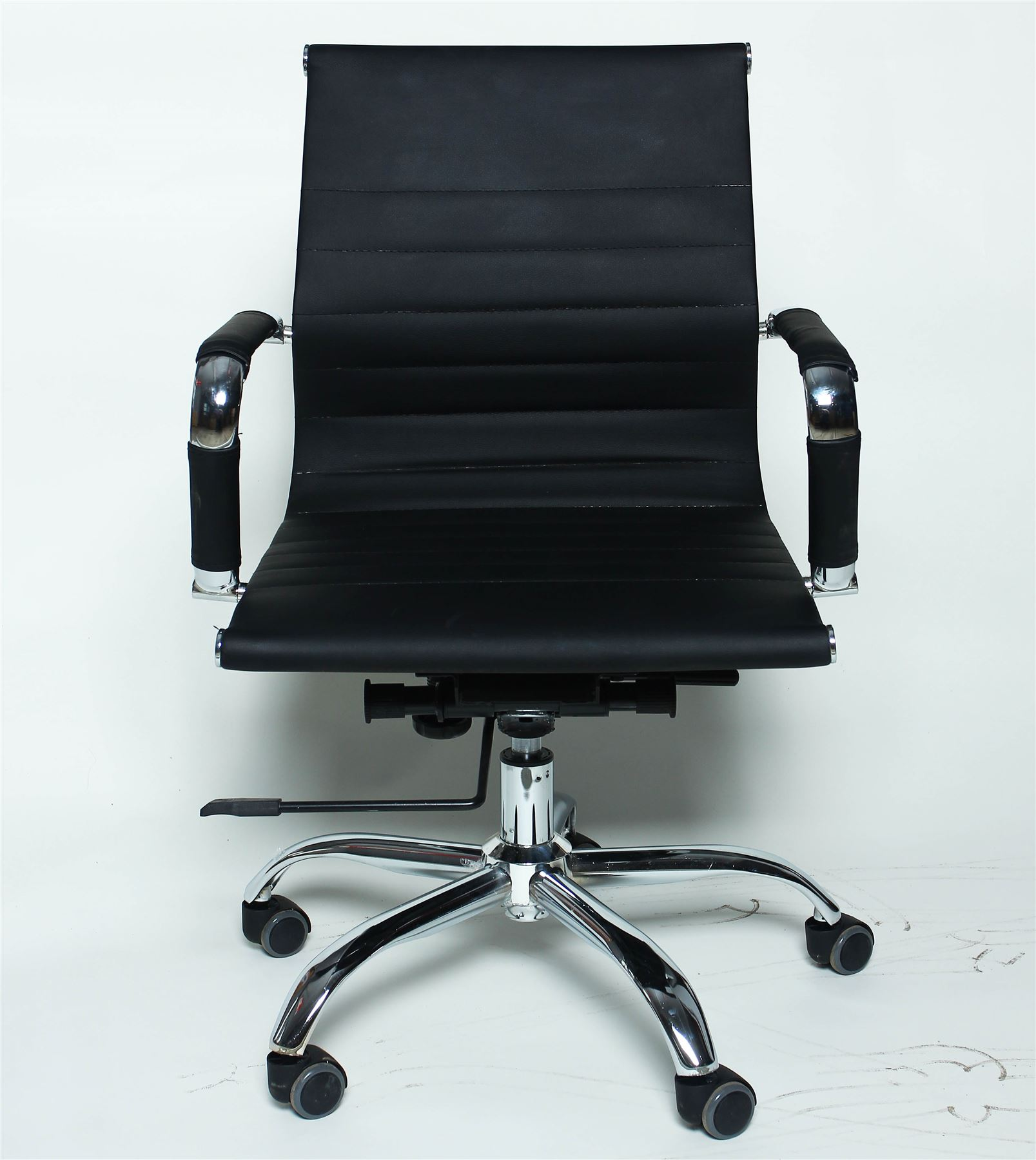 Modern designer low back ribbed executive leather computer for Modern executive office chairs