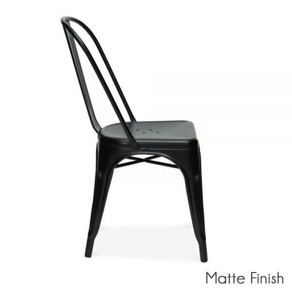 Mmilo Xavier Tolix style Black Metal Dining Chairs Stackable indoor outdoor