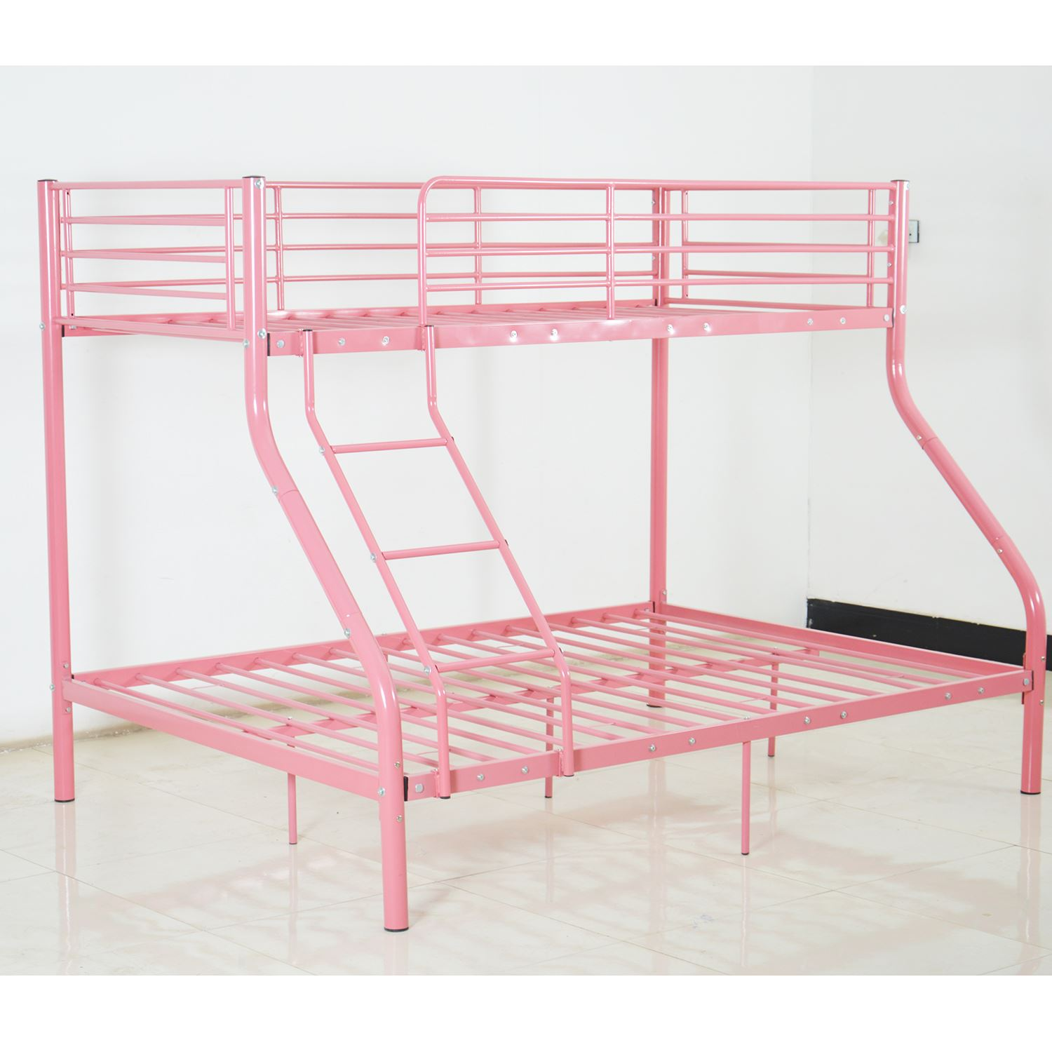 Triple bunk bed children single double metal frame sleeper for Double divan bed no mattress