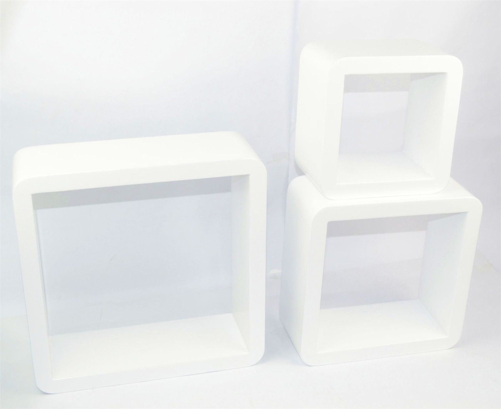 4er set 3 tlg w rfel wandregal mdf regal runde ecke. Black Bedroom Furniture Sets. Home Design Ideas