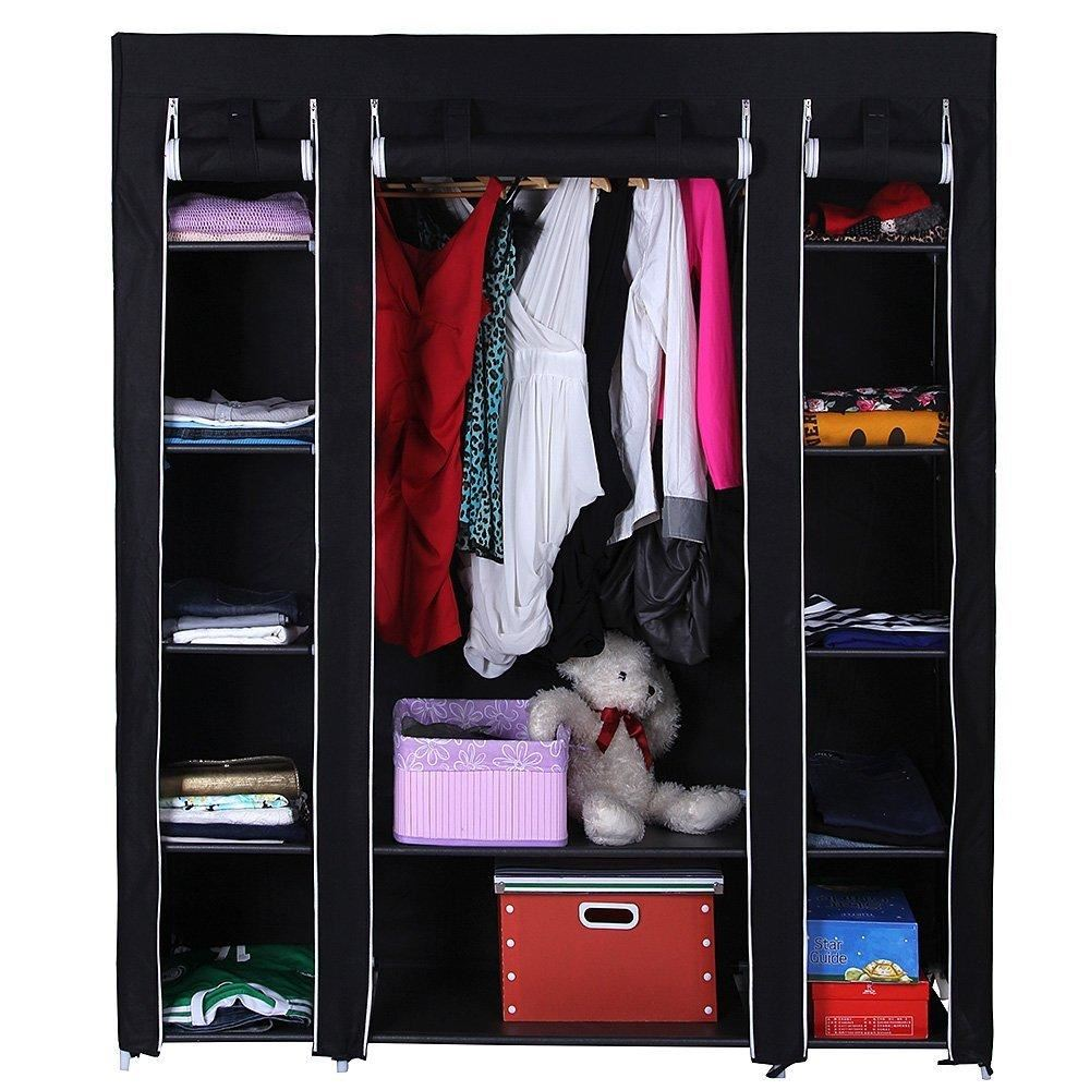 Canvas Storage Boxes For Wardrobes: Non-woven Canvas Fabric Wardrobe With Triple Doors Storage