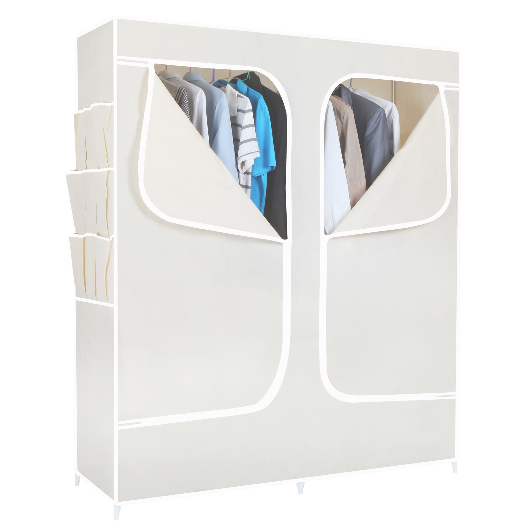 canvas fabric wardrobe door storage closet with
