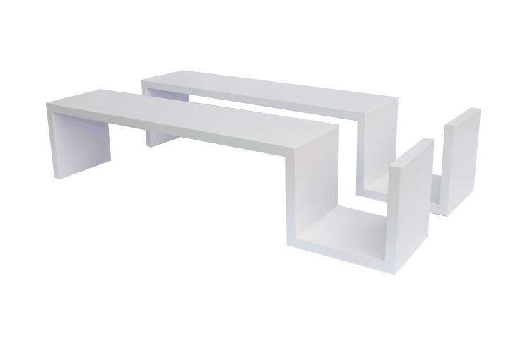 two s shaped matte floating wall shelves units dvd book. Black Bedroom Furniture Sets. Home Design Ideas