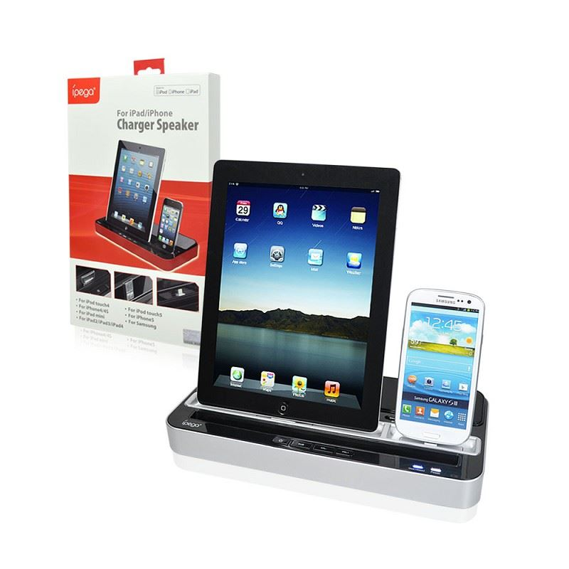 ipega docking station for apple ipad iphone ipod samsung dual charger speaker ebay. Black Bedroom Furniture Sets. Home Design Ideas