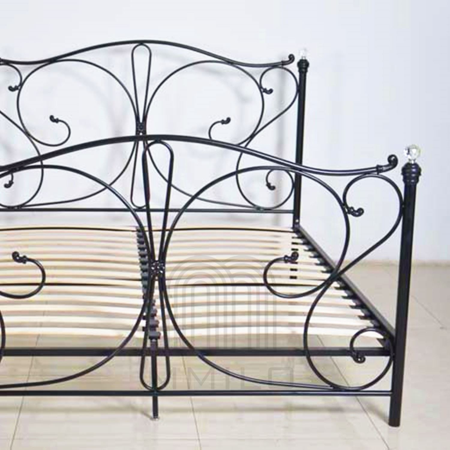 florence double black metal bed frame with crystal - Black Metal Bed Frame