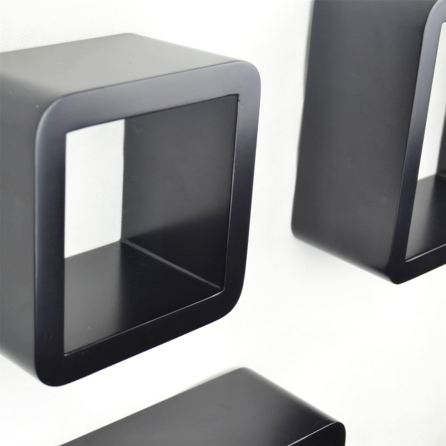 cube wall shelves mdf set of  pcs of shelf round corner floating  - cubewallshelvesmdfsetofpcs