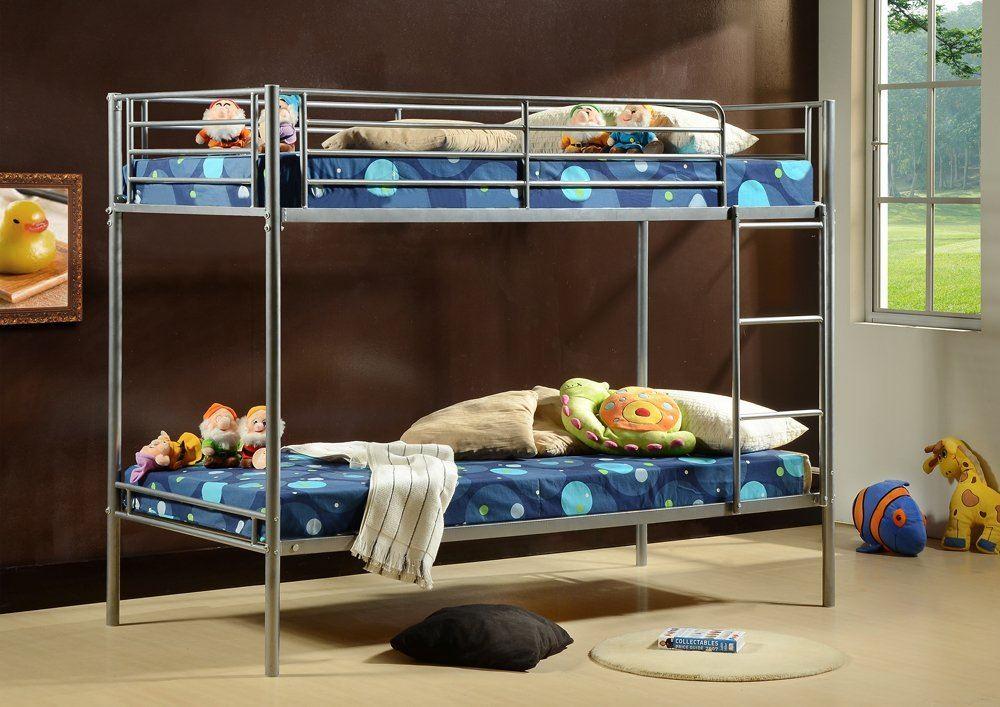 3ft single bunk beds metal frame for children kids twin for Single bunk bed frame