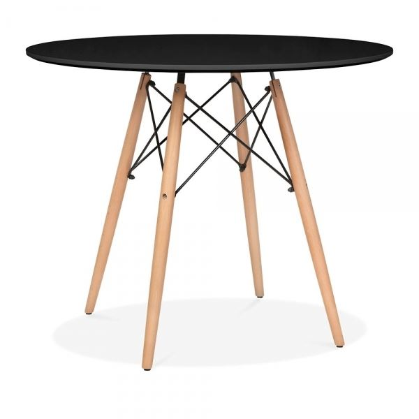 mmilo round modern black dining table diameter 100