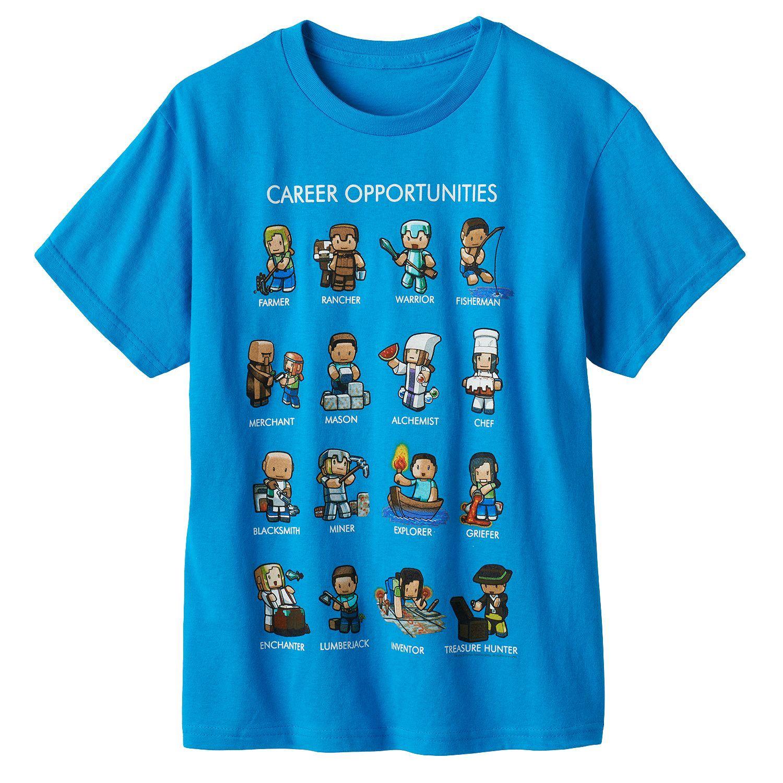 MINECRAFT T-Shirt Youth Kids CAREER OPPORTUNITIES Cartoon Mining ...