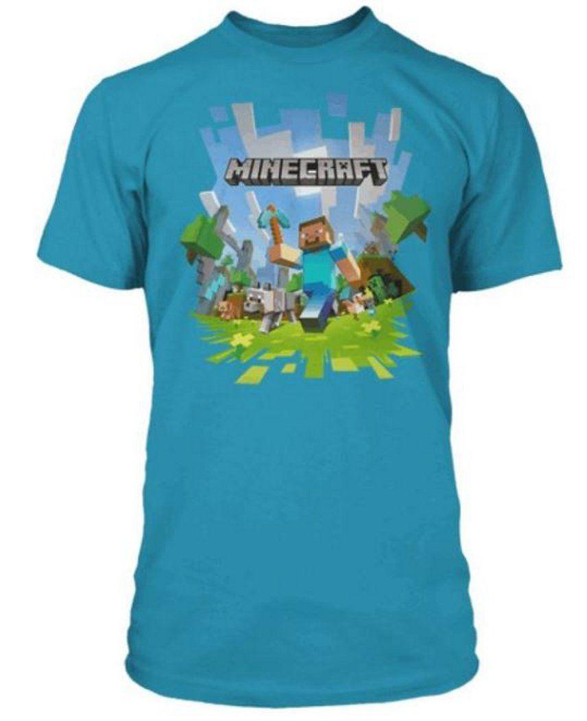 Minecraft adventure logo t shirt mine craft tshirt steve for Mine craft t shirt
