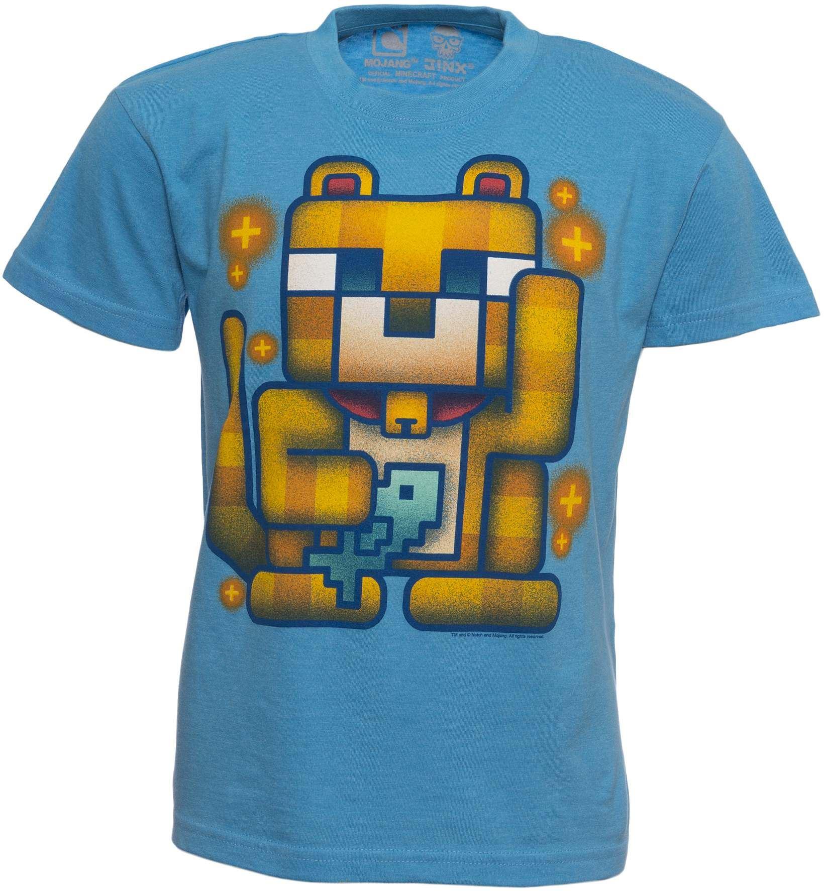 Lucky ocelot blue minecraft official t shirt kids youth t for Mine craft t shirt