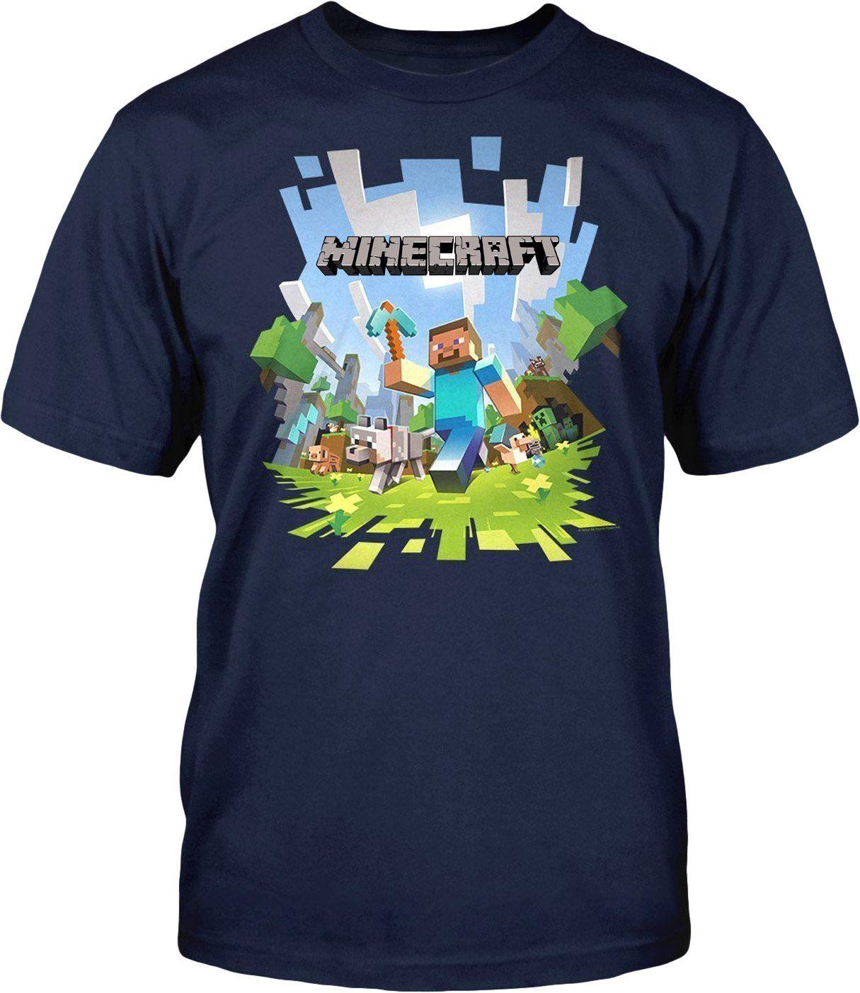 Minecraft adventure con logo t shirt mine craft t shirt for Mine craft t shirt