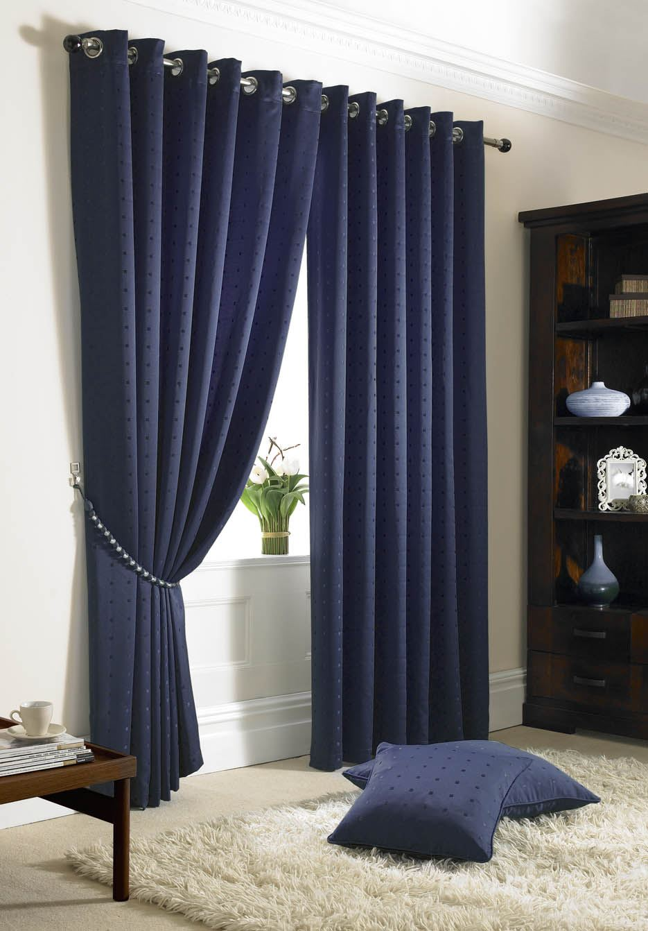 JACQUARD CHECK NAVY BLUE LINED RING TOP EYELET CURTAINS