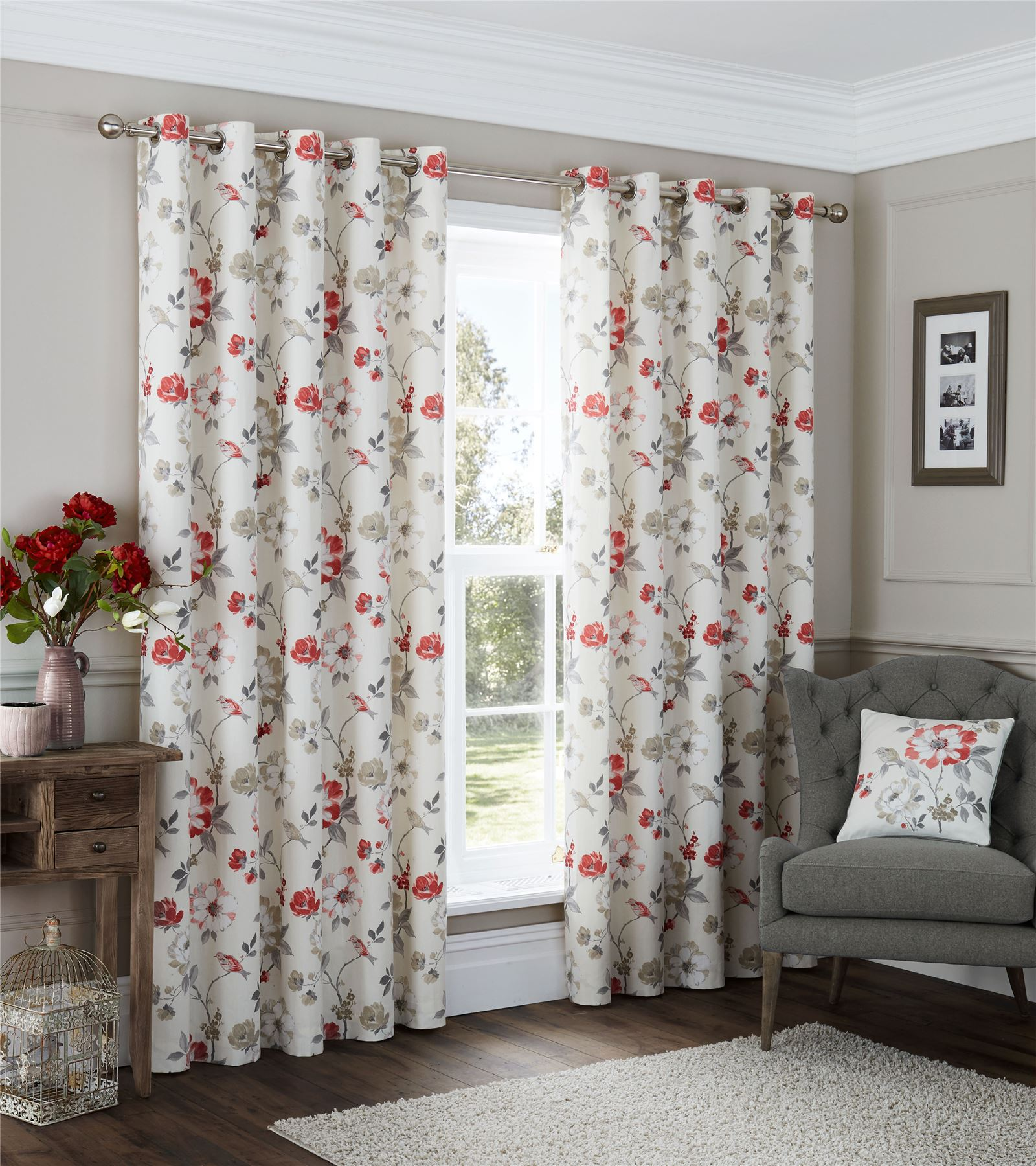 bird floral vine red cream beige grey ring top curtains 8 sizes ebay. Black Bedroom Furniture Sets. Home Design Ideas