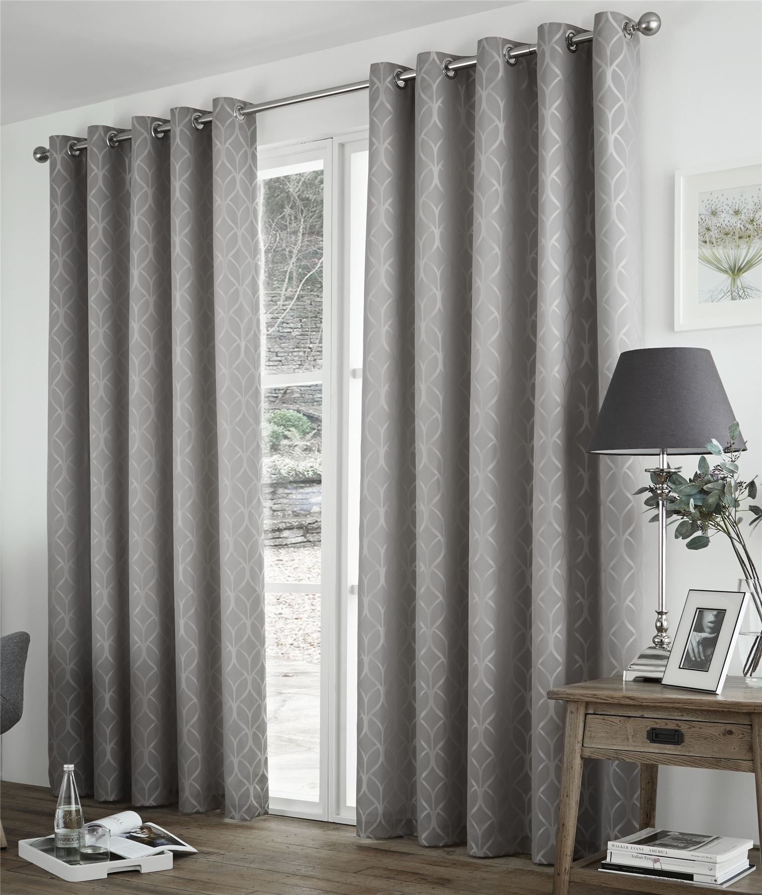 Thermal curtains grey - Geometric Two Tone Grey Thermal Block Out Lined