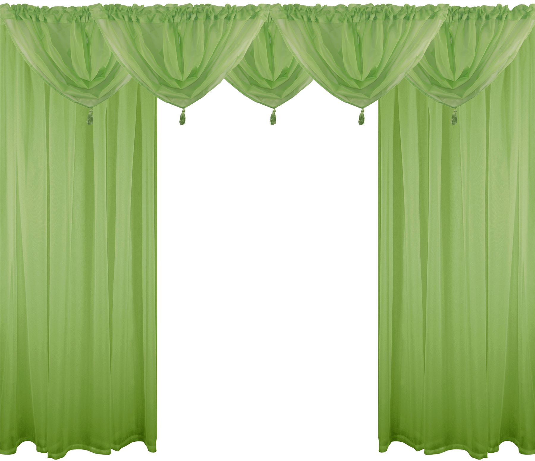 Lime Green 9 Piece Voile Set Rod Pocket Curtains Drapes Swags 4 Sizes Ebay