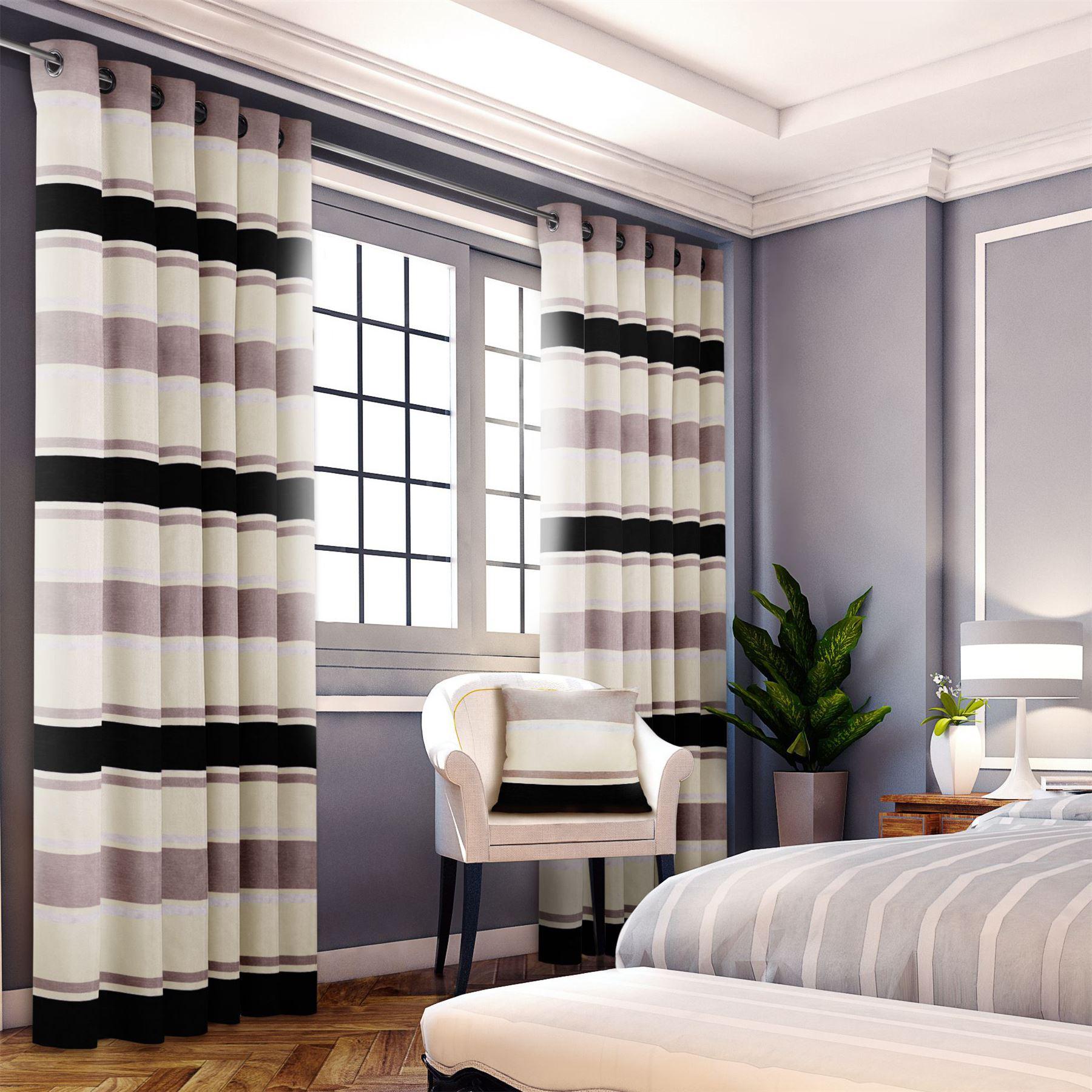 chenille jacquard rayures beige noir doubl rideaux anneaux rideaux 6 tailles ebay. Black Bedroom Furniture Sets. Home Design Ideas