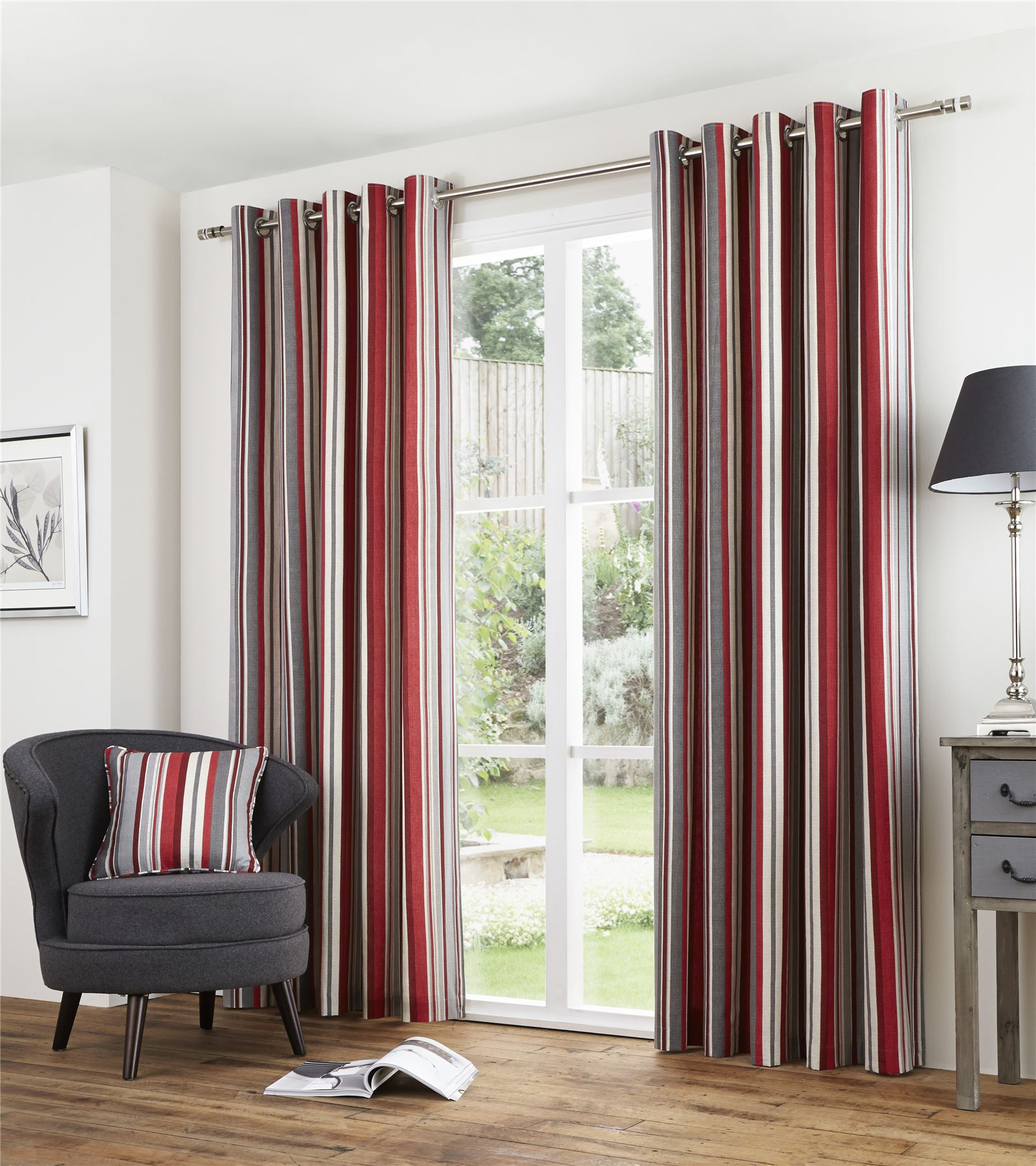 Striped Red Grey Lined 100 Cotton Ring Top Curtains 7