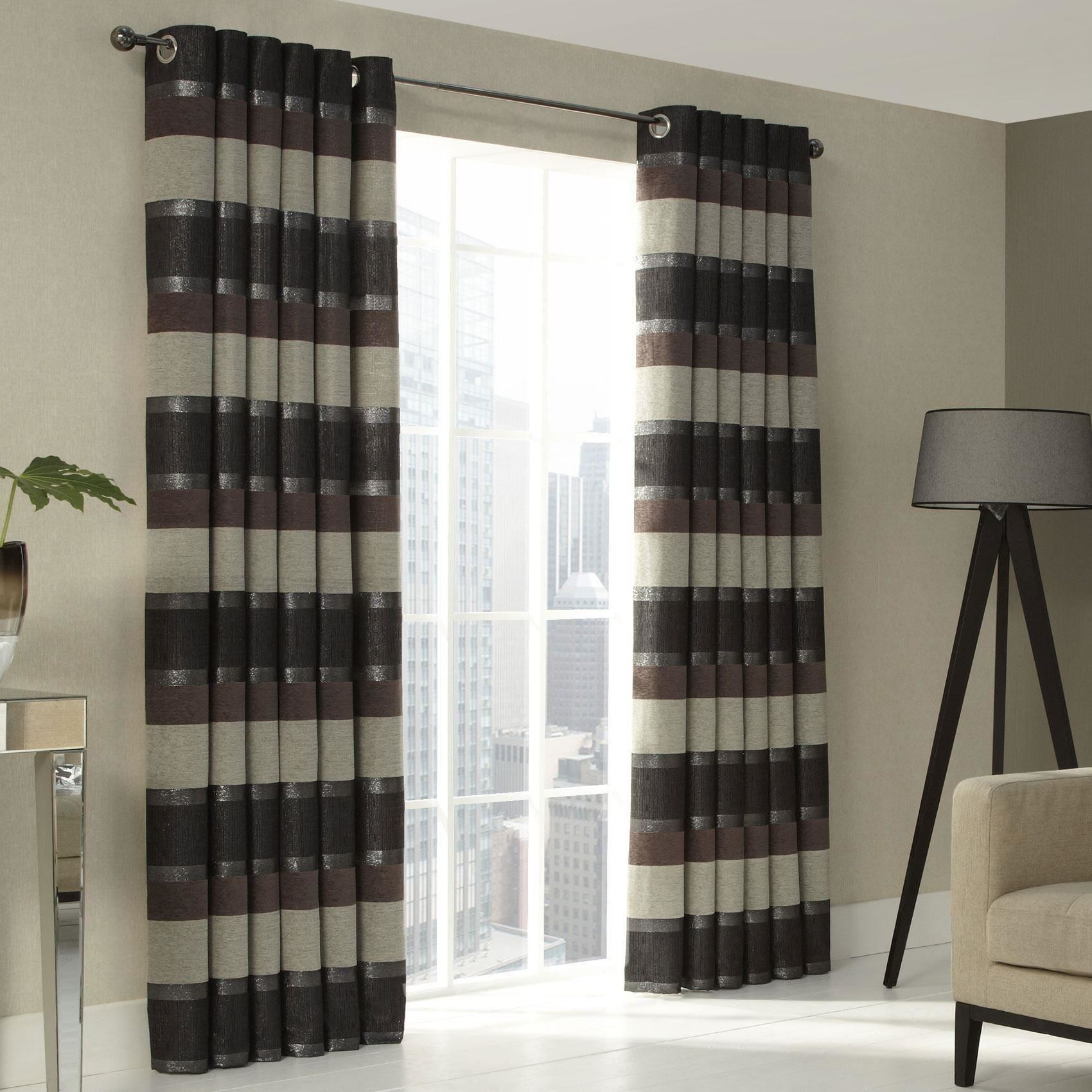 chenille stripe brown grey lined ring top eyelet curtains 9 sizes ebay. Black Bedroom Furniture Sets. Home Design Ideas