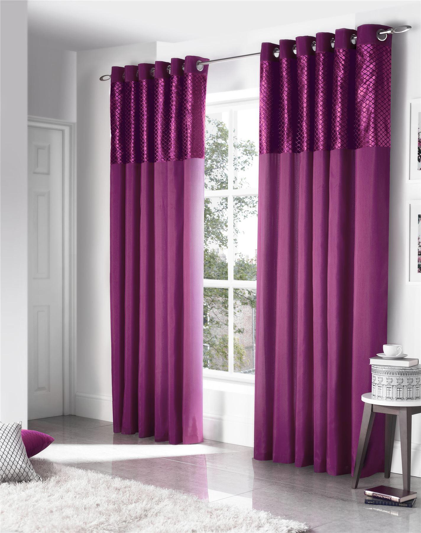 Faux silk cut velvet purple lined ring top curtains drapes 5 sizes