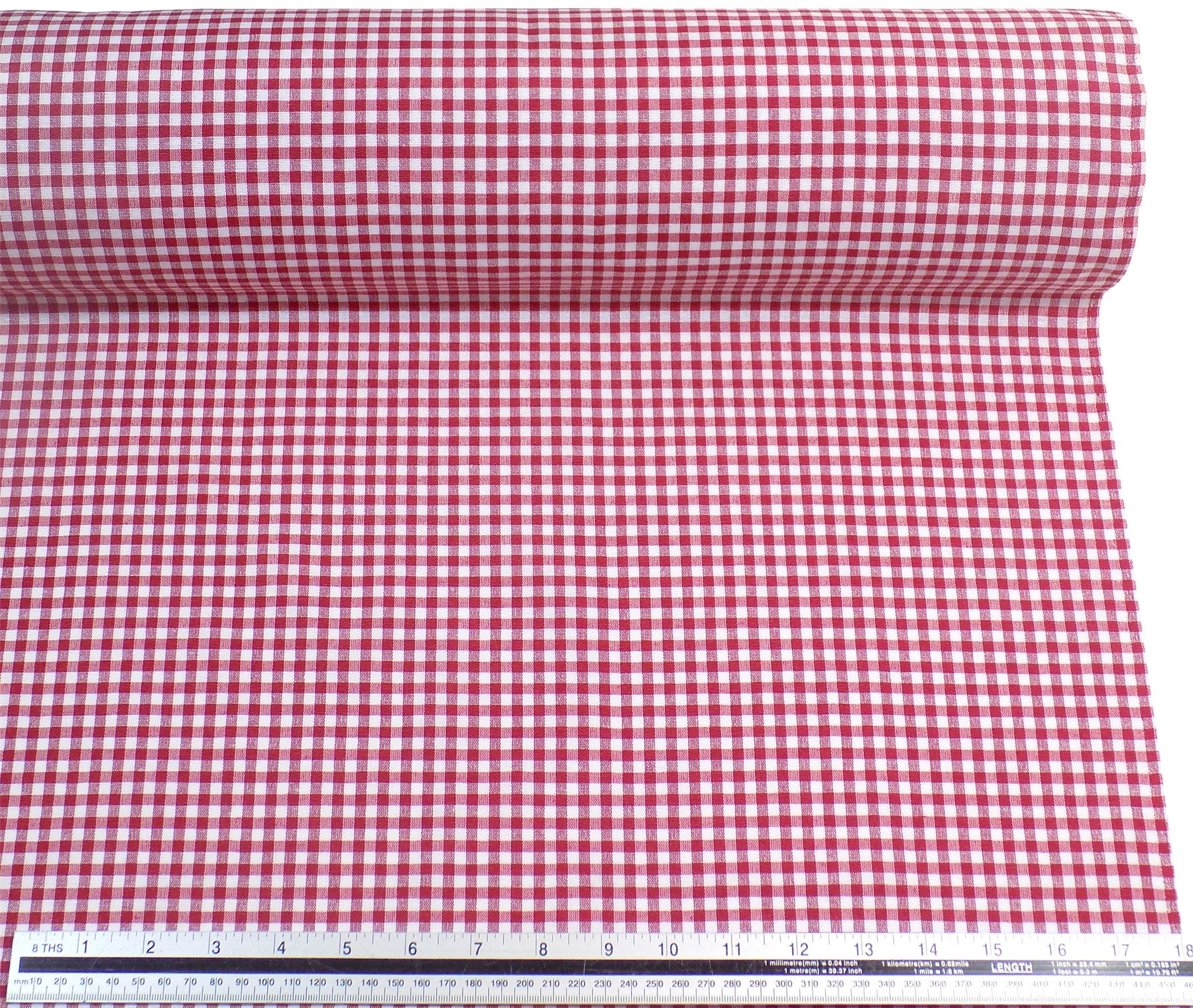 Red white gingham check cotton blend high quality fabric for Gingham fabric