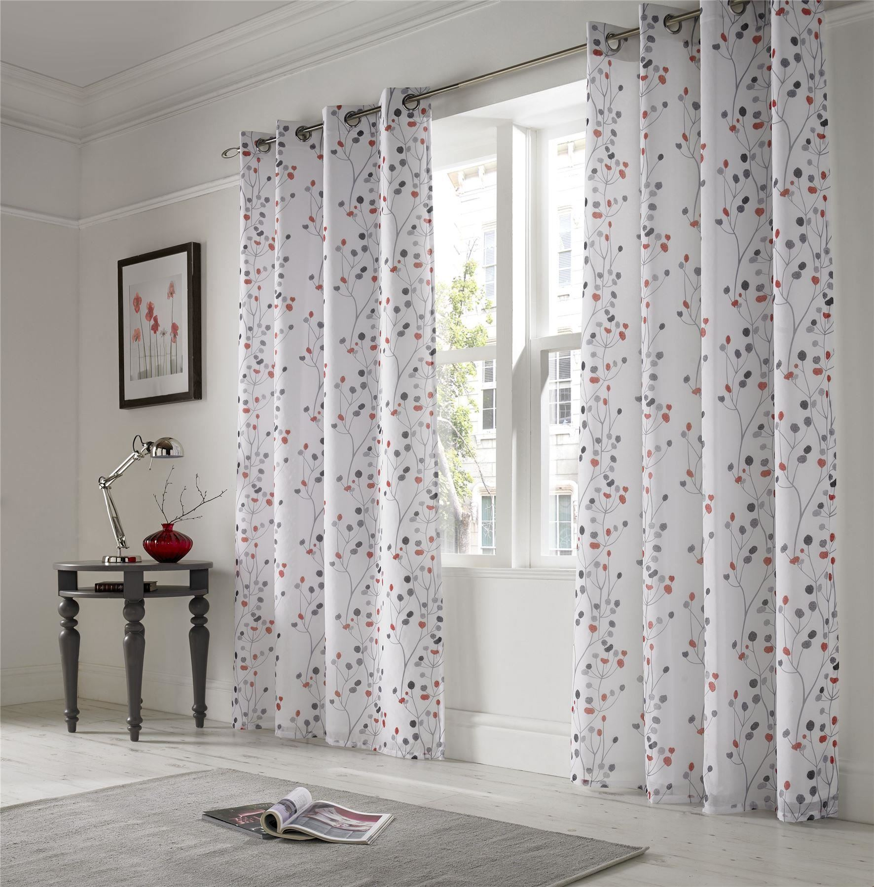 Lined Linen Drapes: LINEN LOOK FLORAL RED WHITE LINED RING TOP VOILE CURTAINS