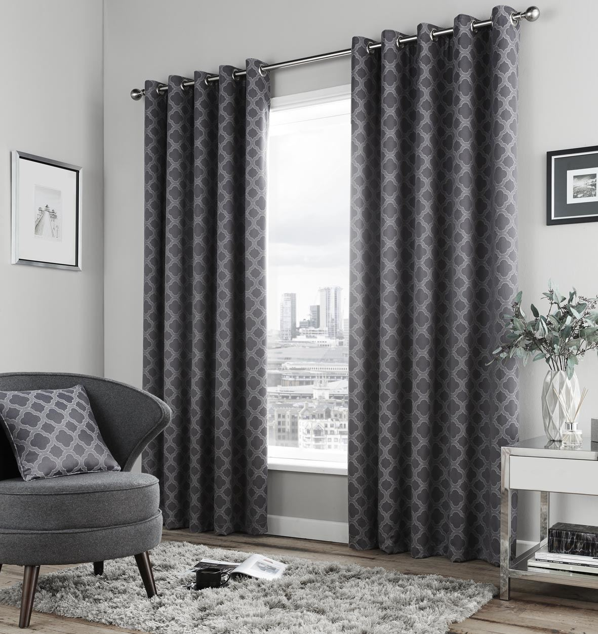 Geometric charcoal grey fully lined ring top curtains 6 for Living room curtains 90x90