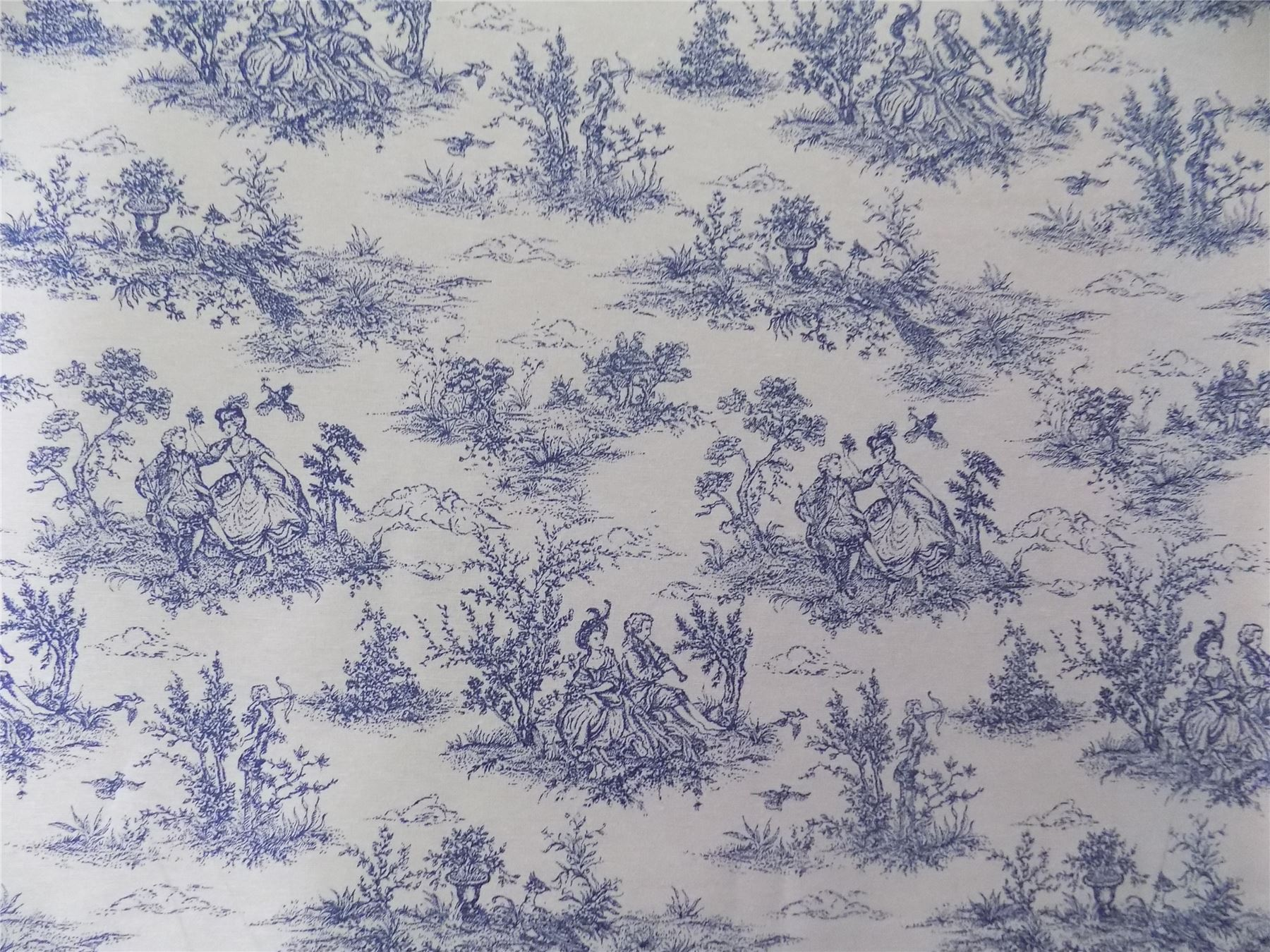 vintage french lovers scenes toile de jouy navy cotton fabric material 3 sizes. Black Bedroom Furniture Sets. Home Design Ideas