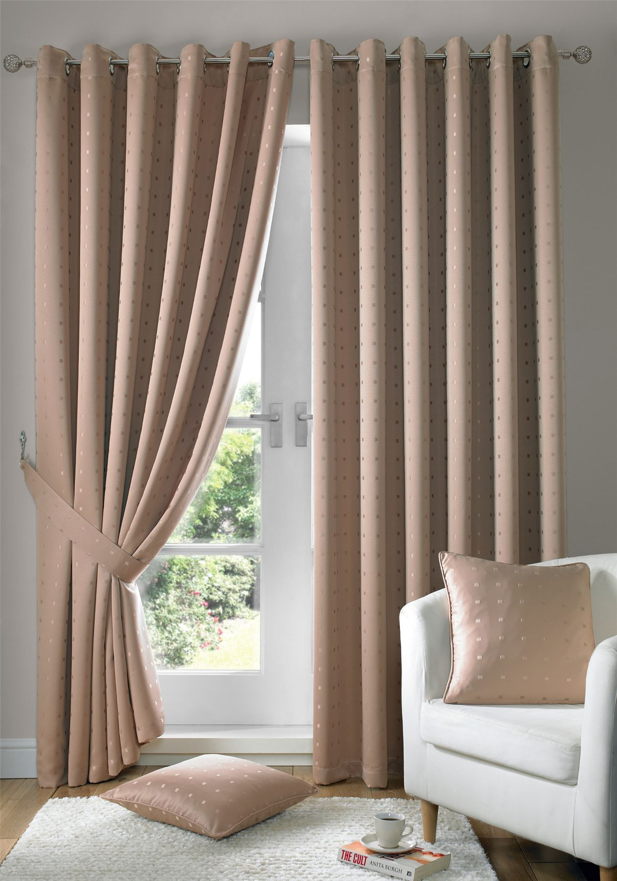jacquard check latte beige lined ring top eyelet curtains drapes 6 sizes ebay. Black Bedroom Furniture Sets. Home Design Ideas