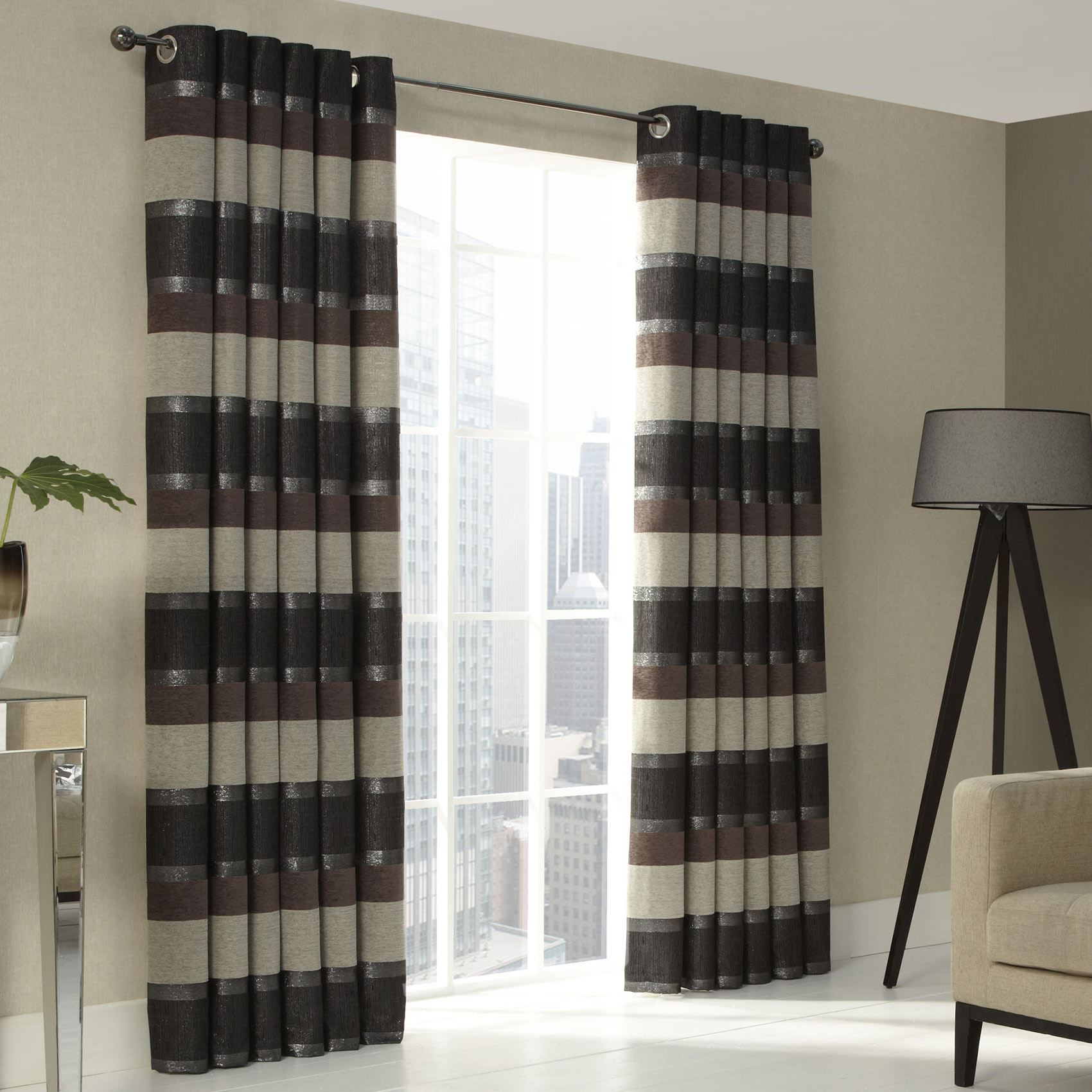 chenille rayures marron gris doubl bague haut oeillet rideaux 9 tailles ebay. Black Bedroom Furniture Sets. Home Design Ideas