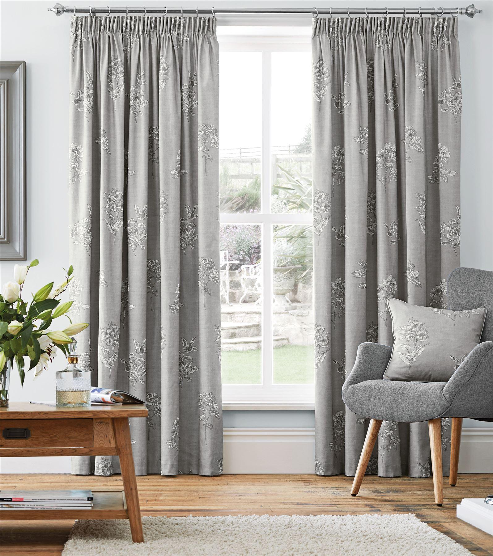 silver grey floral 100 cotton pencil pleat curtains. Black Bedroom Furniture Sets. Home Design Ideas