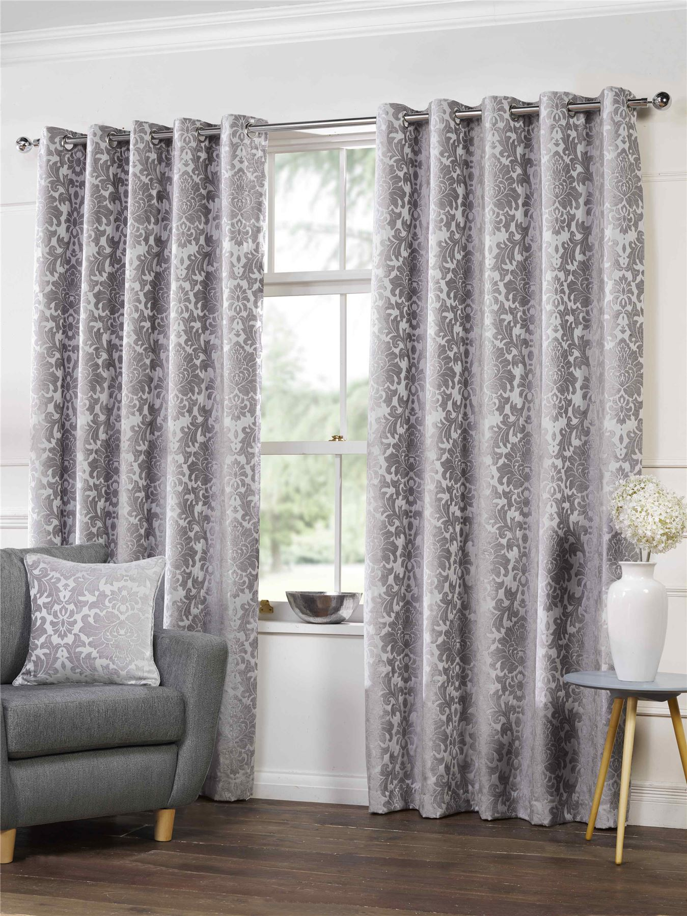 SILVER GREY CHENILLE DAMASK LINED RING TOP EYELET CURTAINS ...