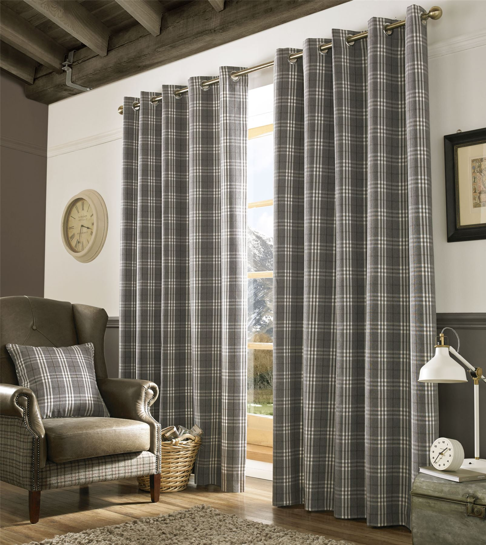 TARTAN CHECK GREY WHITE WOVEN LINED RING TOP CURTAINS *9