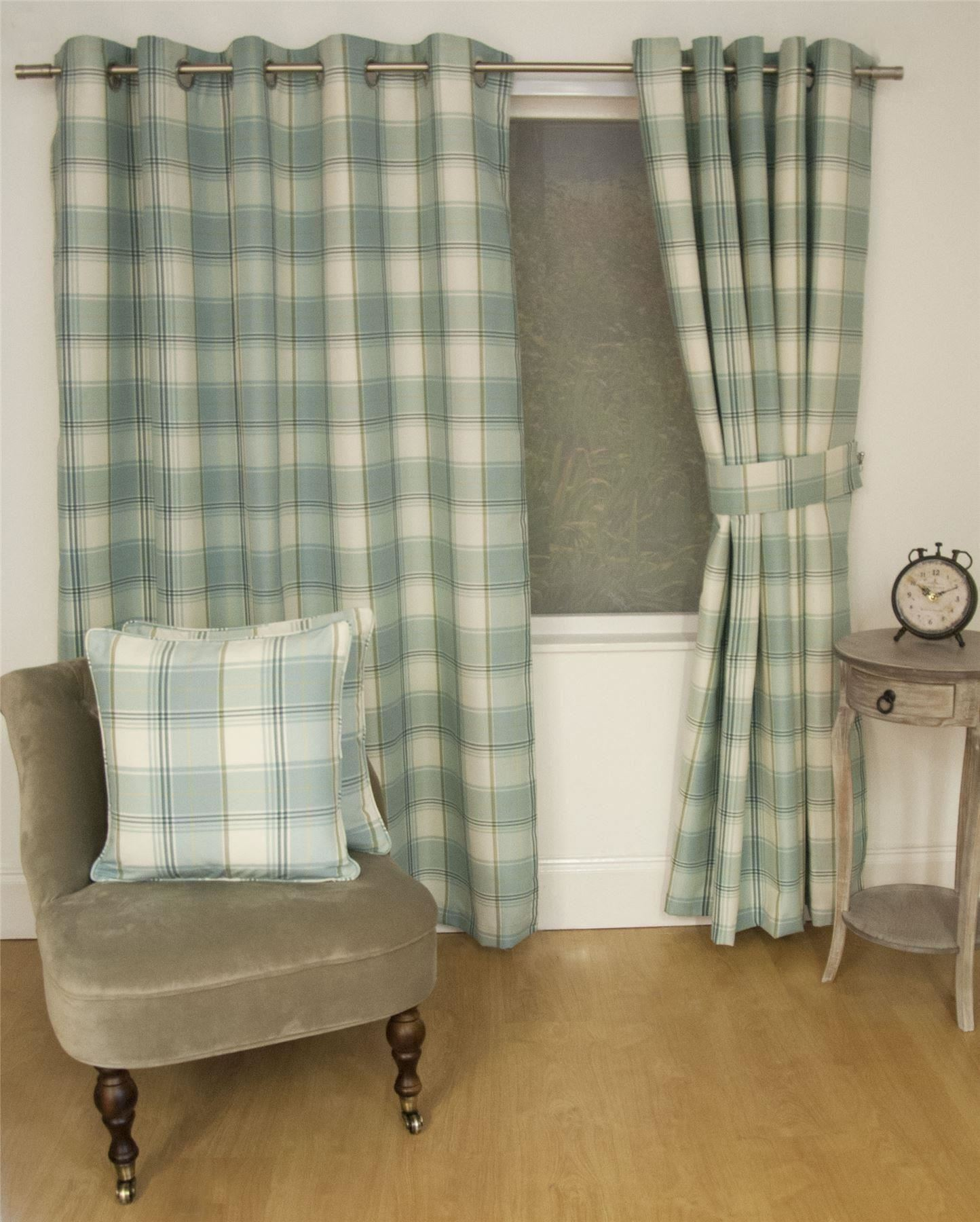 JACQUARD TARTAN CHECK DUCK EGG BLUE LINED RING TOP CURTAINS DRAPES *9 SIZES*