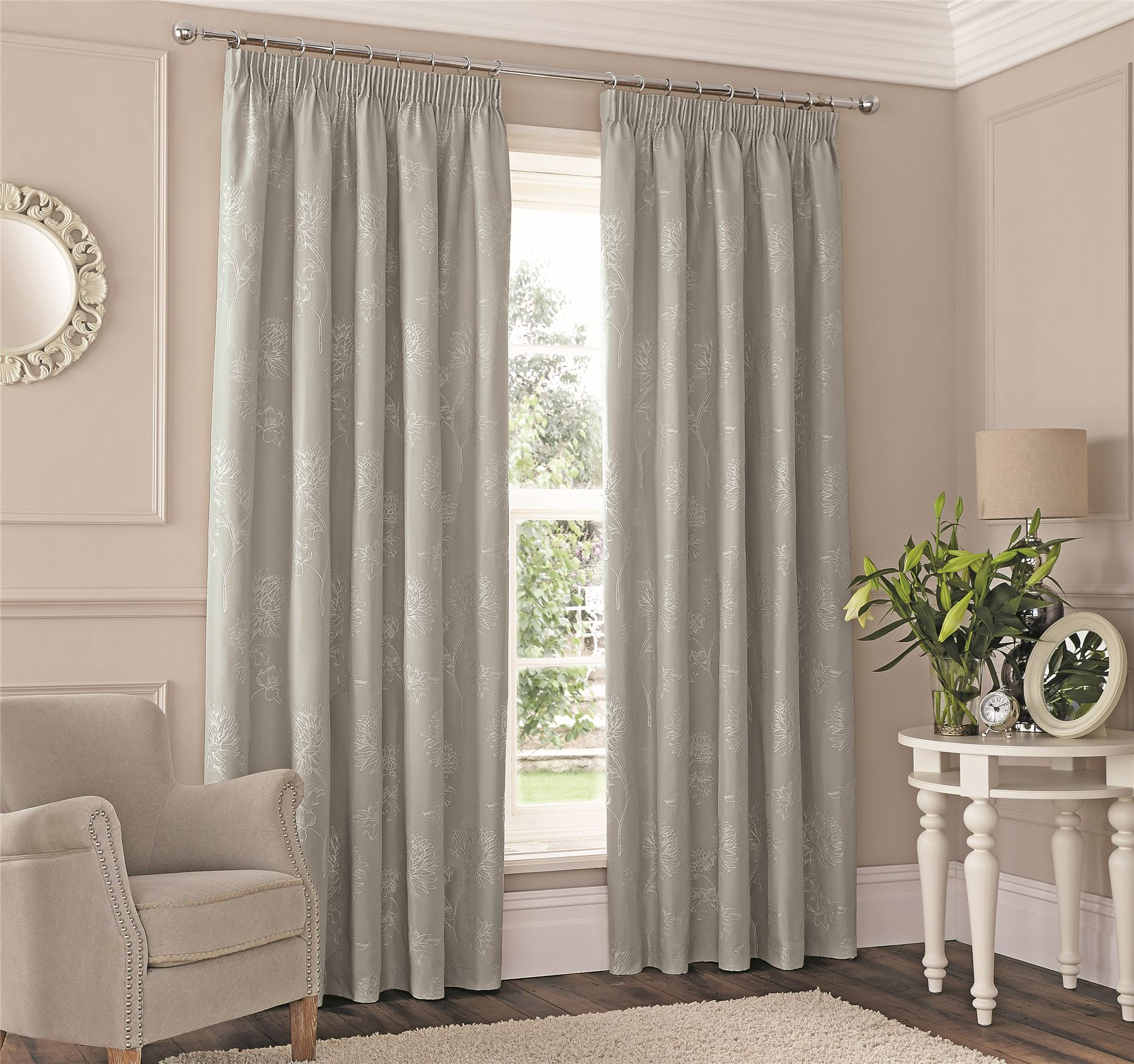 Silver embroidered floral lined pencil pleat curtains - Double rideau en lin ...