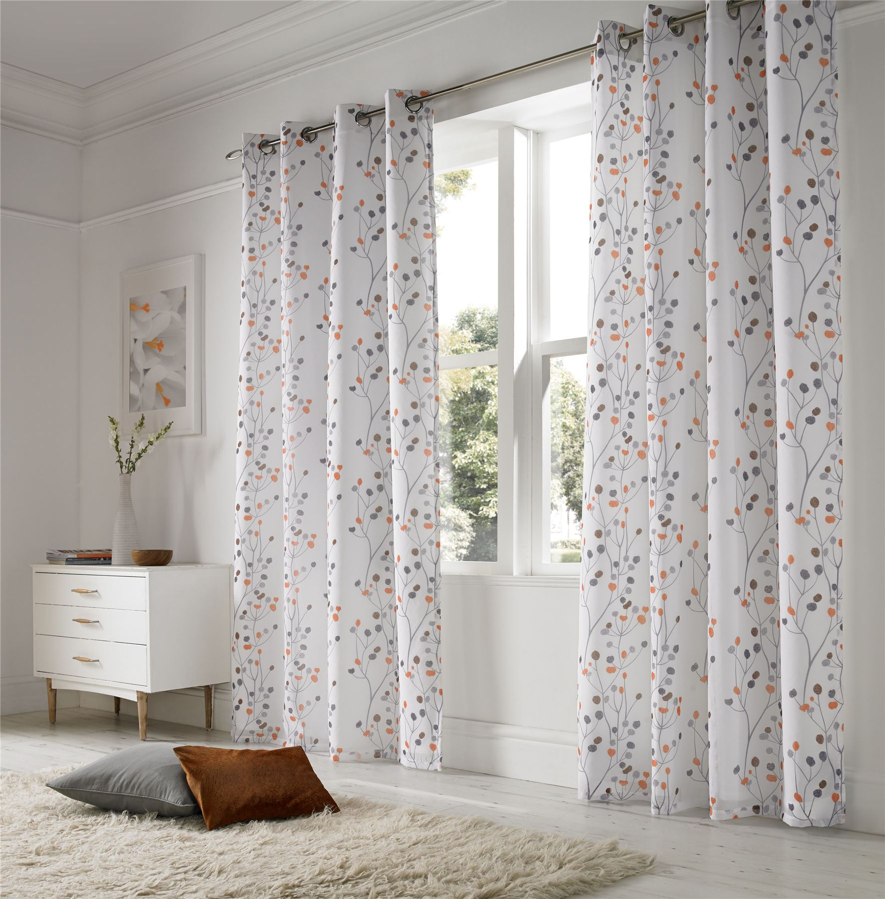 Linen Look Floral Orange White Lined Ring Top Voile Curtains Drapes 2 Sizes Ebay