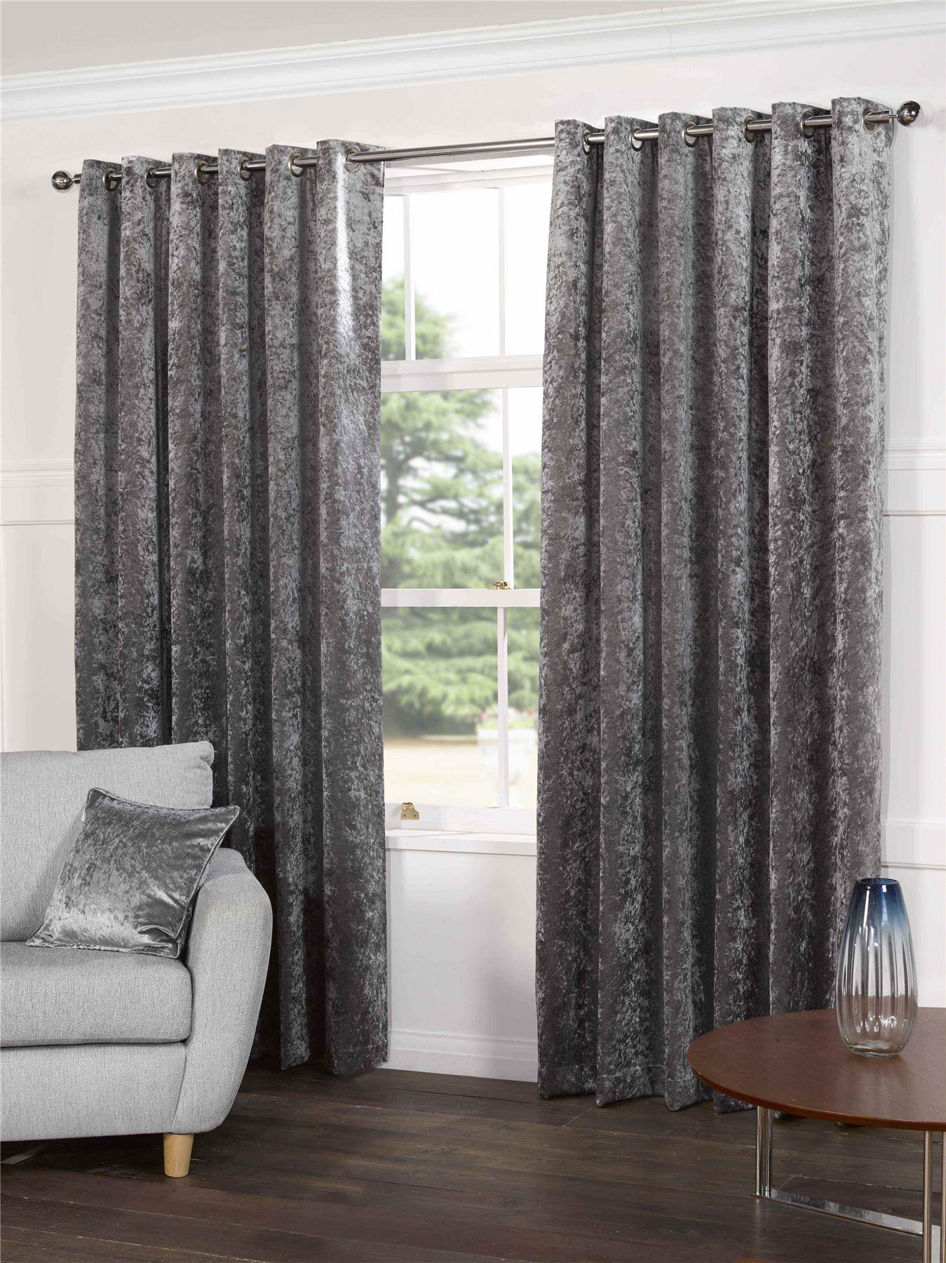 steel silver grey velvet lined ring top eyelet curtains. Black Bedroom Furniture Sets. Home Design Ideas