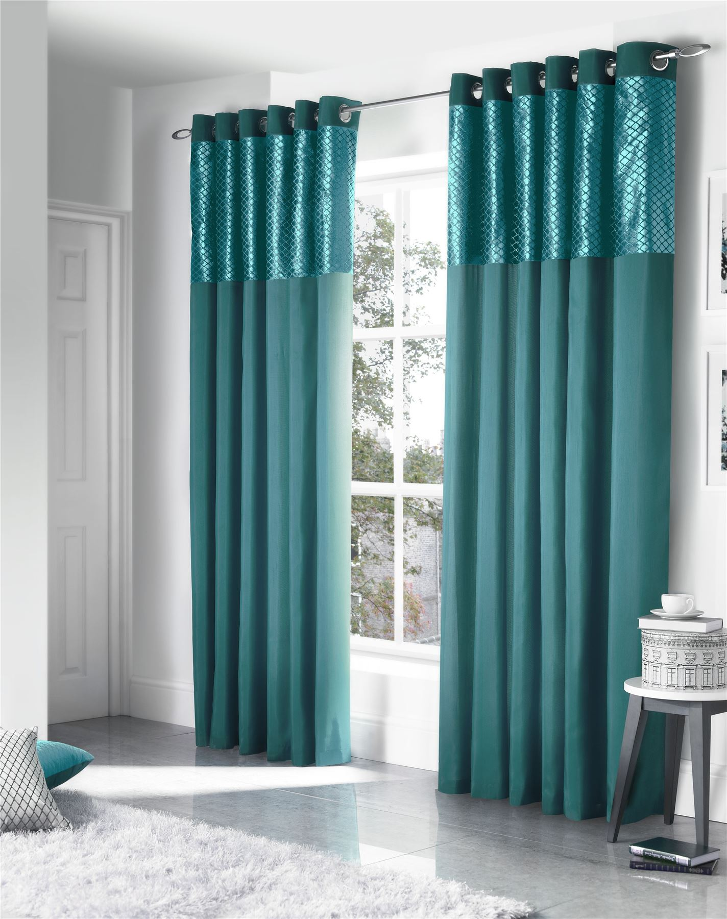 Faux Silk Cut Velvet Teal Lined Ring Top Curtains Drapes 5 Sizes Ebay