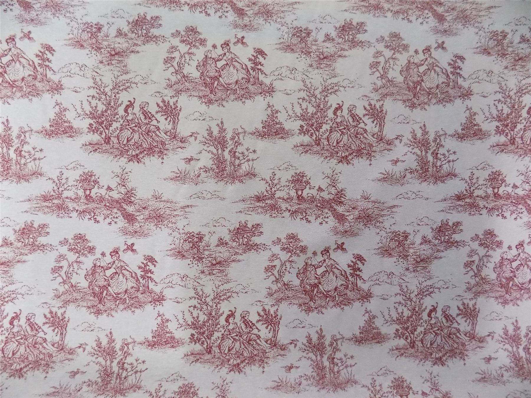 Vintage french lovers scenes toile de jouy red cotton for French toile fabric