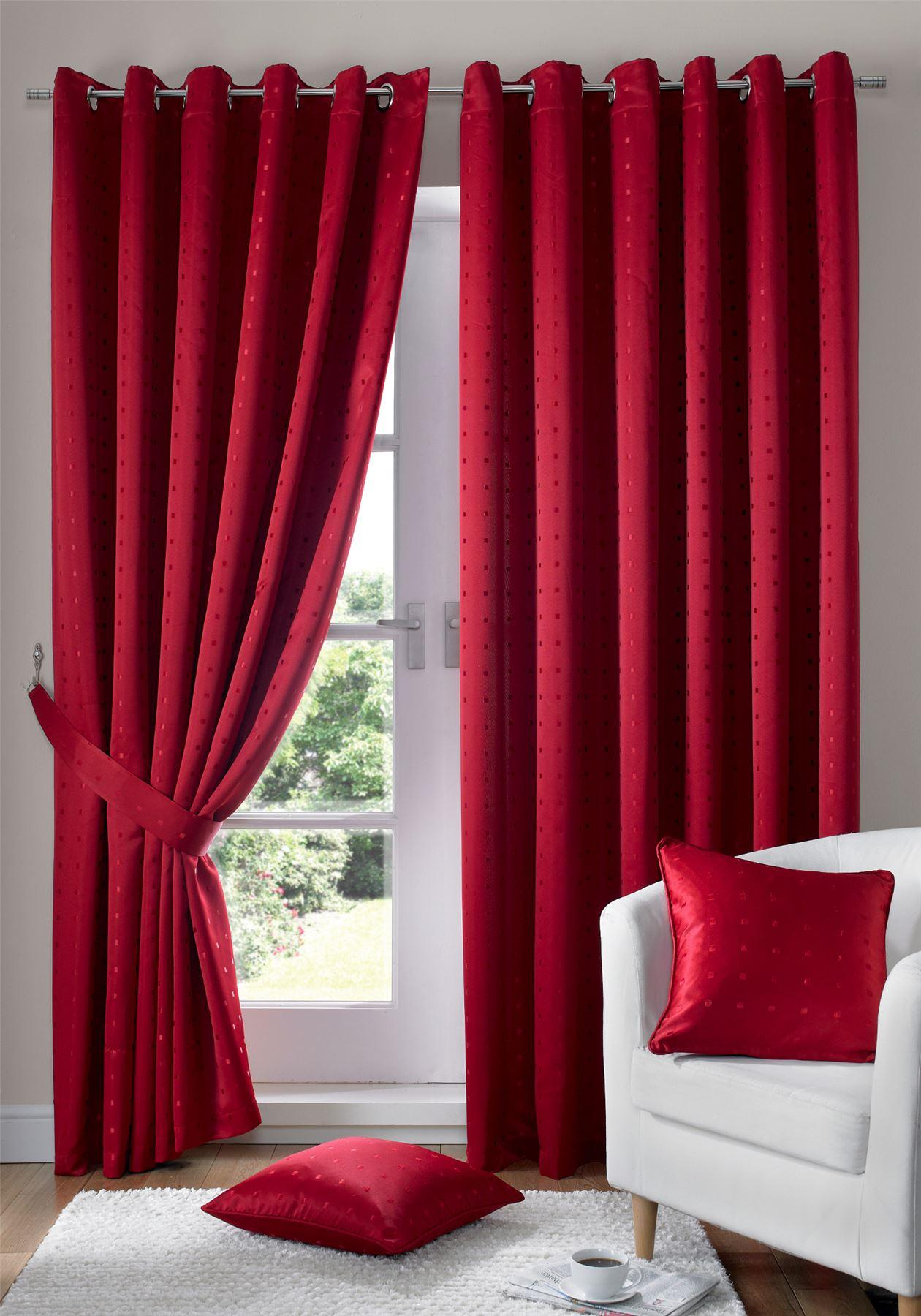 Vérifiez Doublé Jacquard Rouge Doublé Vérifiez Anneau Double rideaux à œillets tentures  6 tailles 02407e