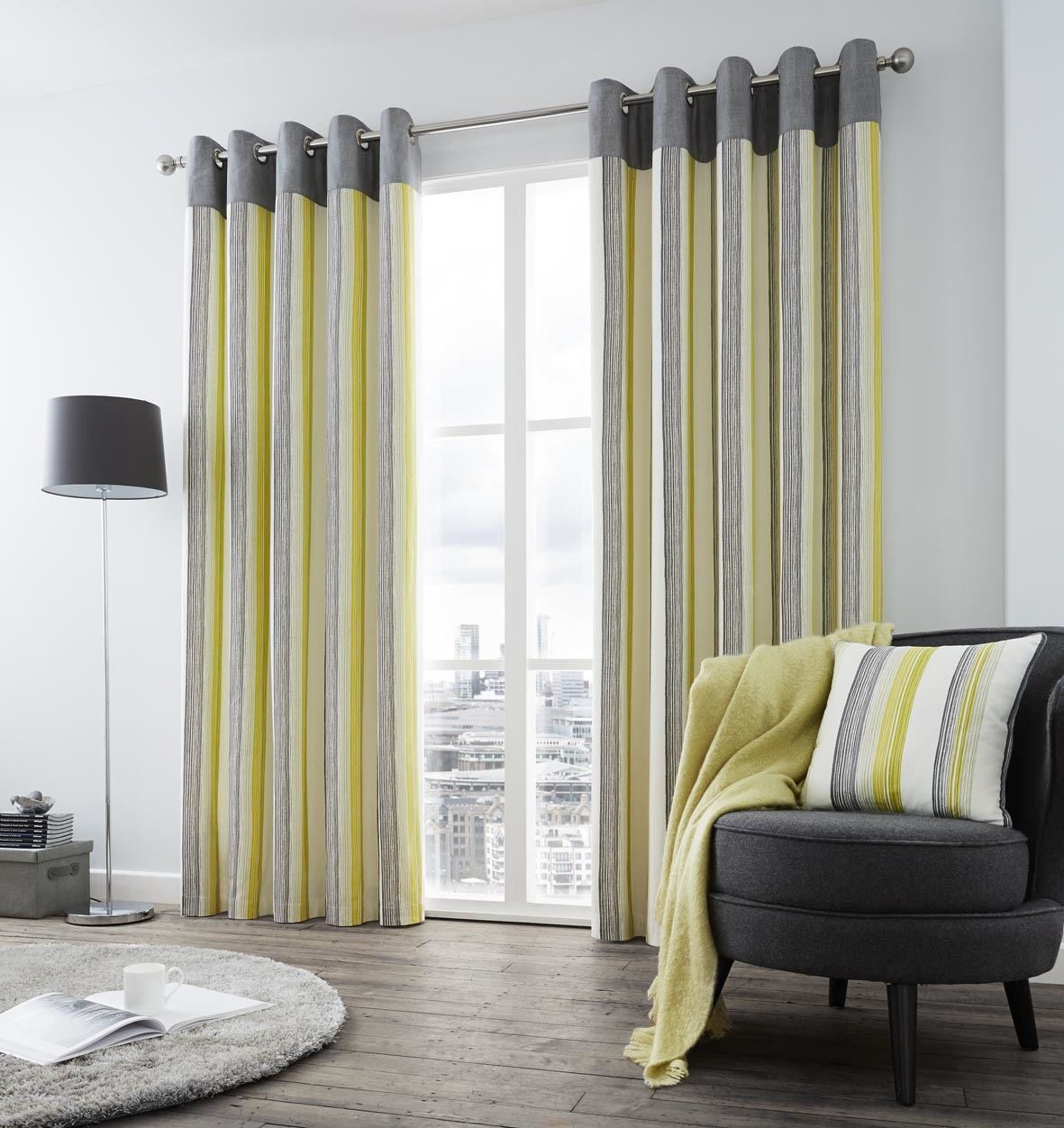 vertical stripe green grey cream lined ring top curtains. Black Bedroom Furniture Sets. Home Design Ideas