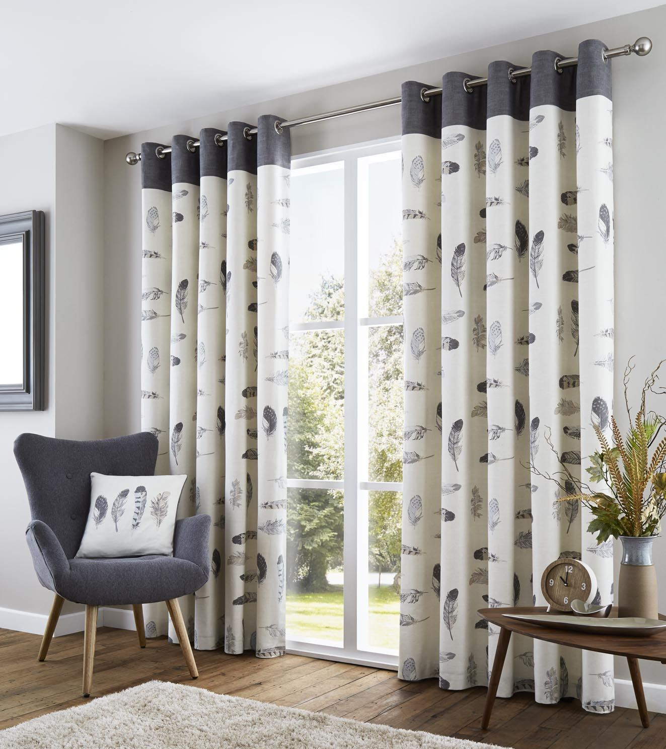 feather grey cream beige white lined 100 cotton ring top curtains 8 sizes ebay. Black Bedroom Furniture Sets. Home Design Ideas