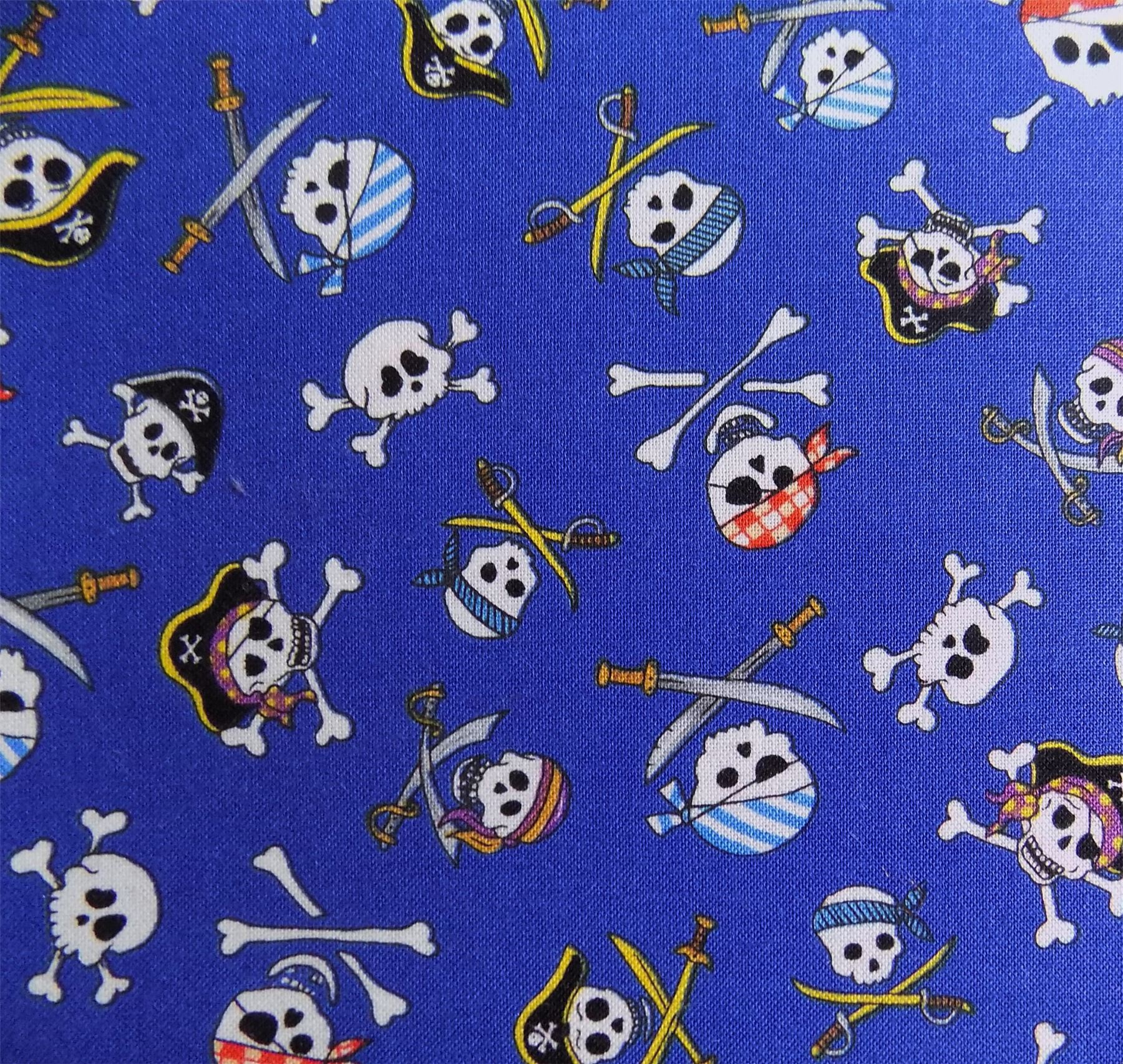 kids pirate skull and crossbones blue 100 cotton fabric