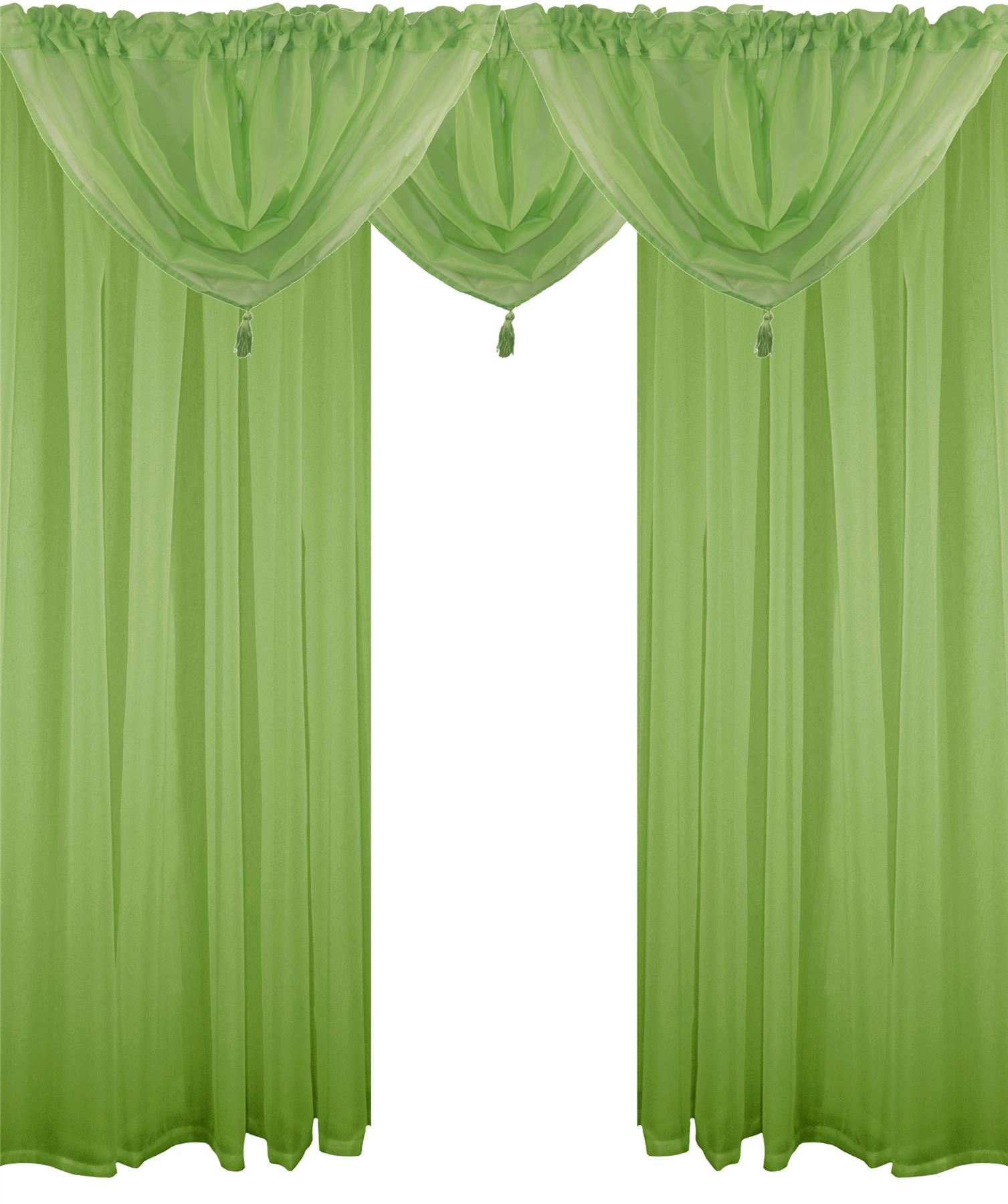 Lime Green 5 Piece Voile Set Rod Pocket Curtains Drapes Swags 4 Sizes Ebay