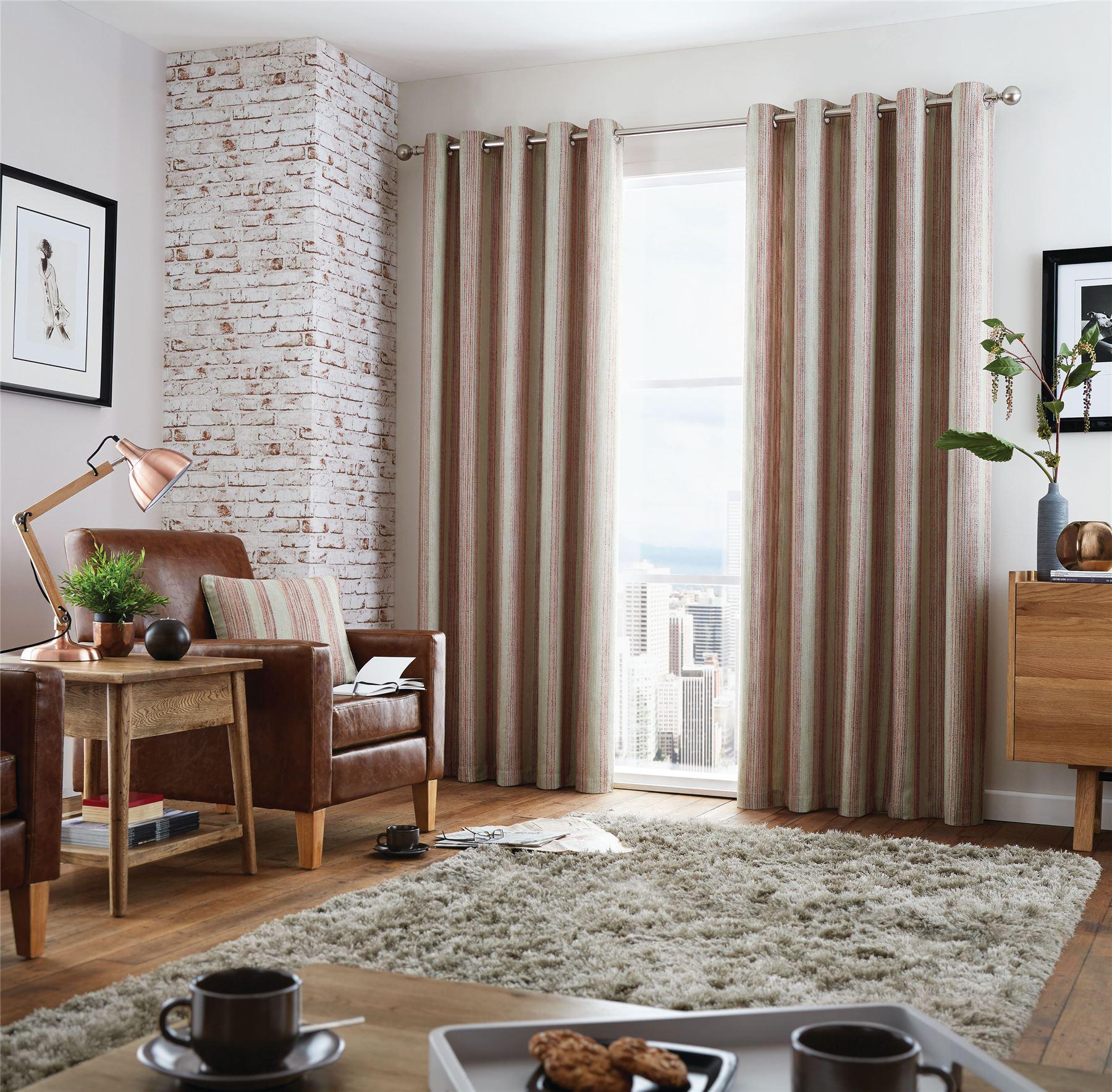 woven vertical stripe red orange beige lined ring top. Black Bedroom Furniture Sets. Home Design Ideas