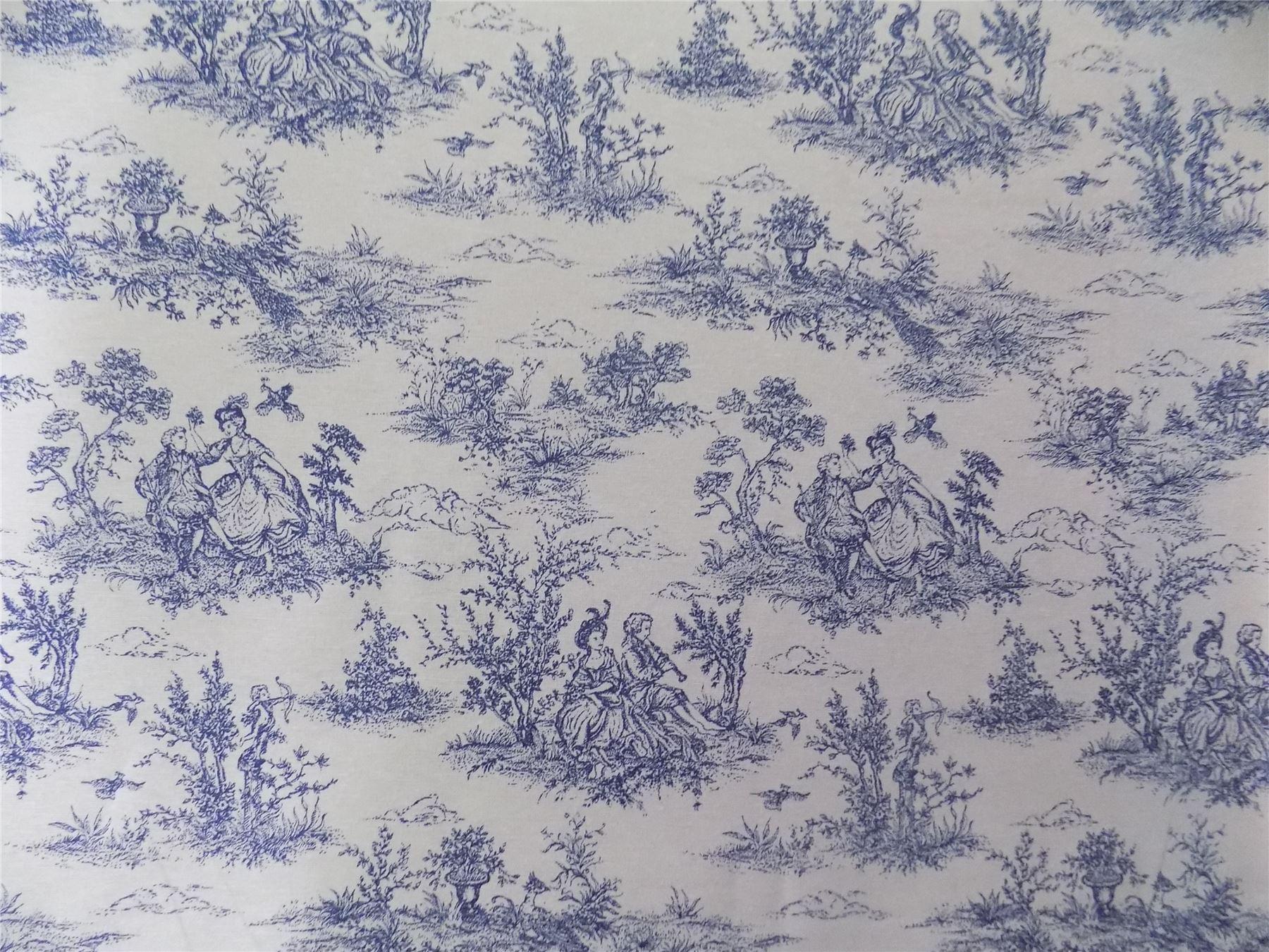 Vintage french lovers scenes toile de jouy navy cotton for Housse de couette toile de jouy
