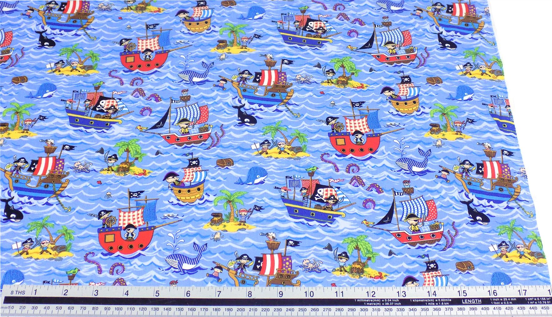 Kids pirate ships blue 100 cotton high quality fabric for Kids pirate fabric